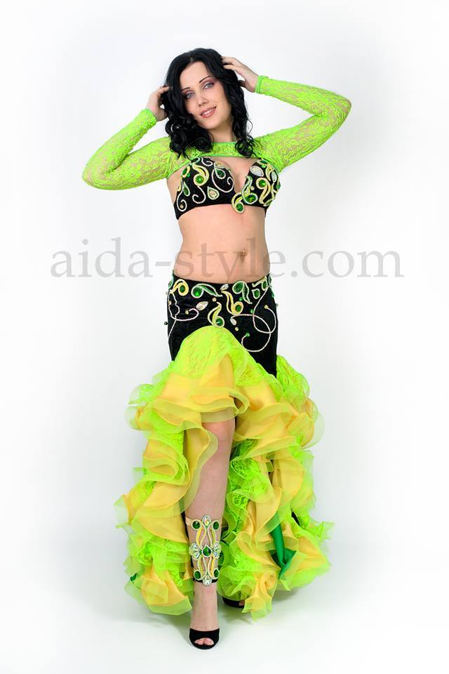 Beautiful custom made professional belly dance costume made in black, green and yellow colors