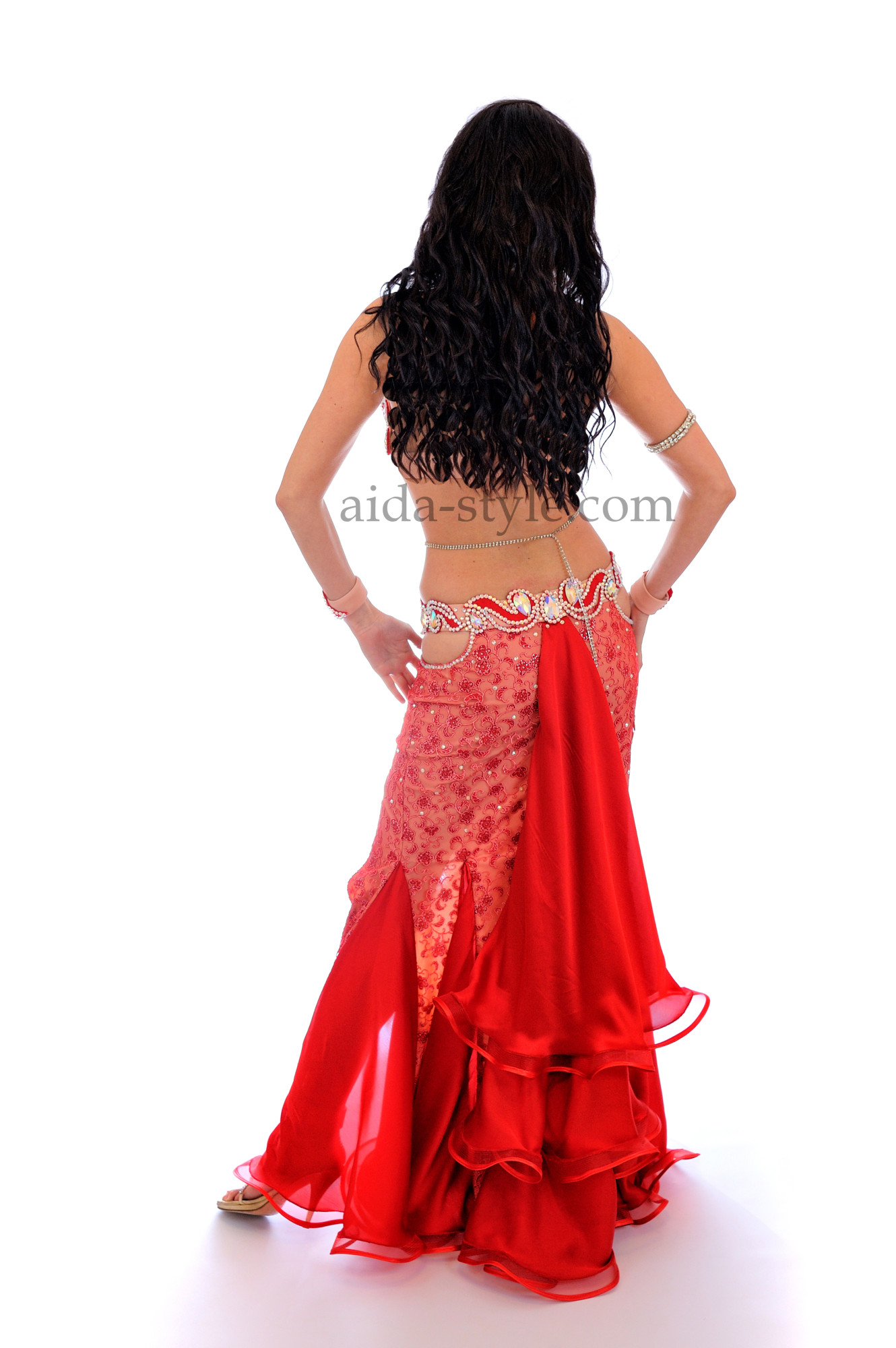 Red professional belly dance suit with white decoration and mermaid skirt with ruffles