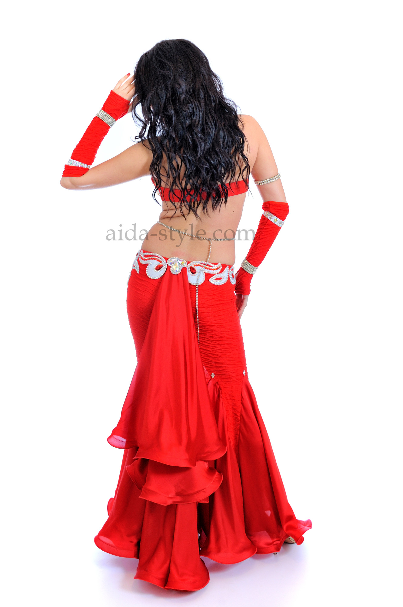 Red professional belly dance suit with white decoration and mermaid skirt