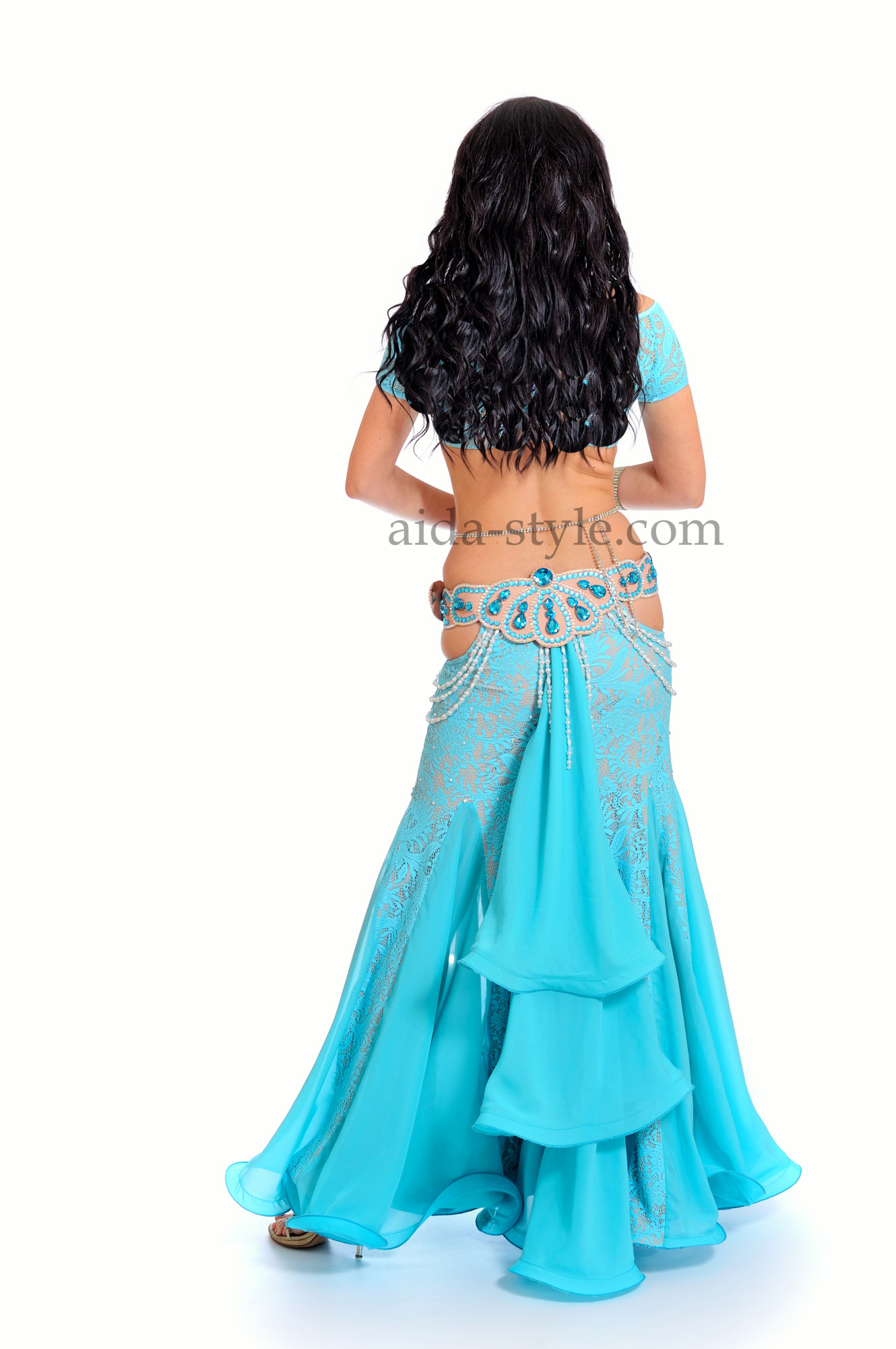 Blue professional belly dance dress