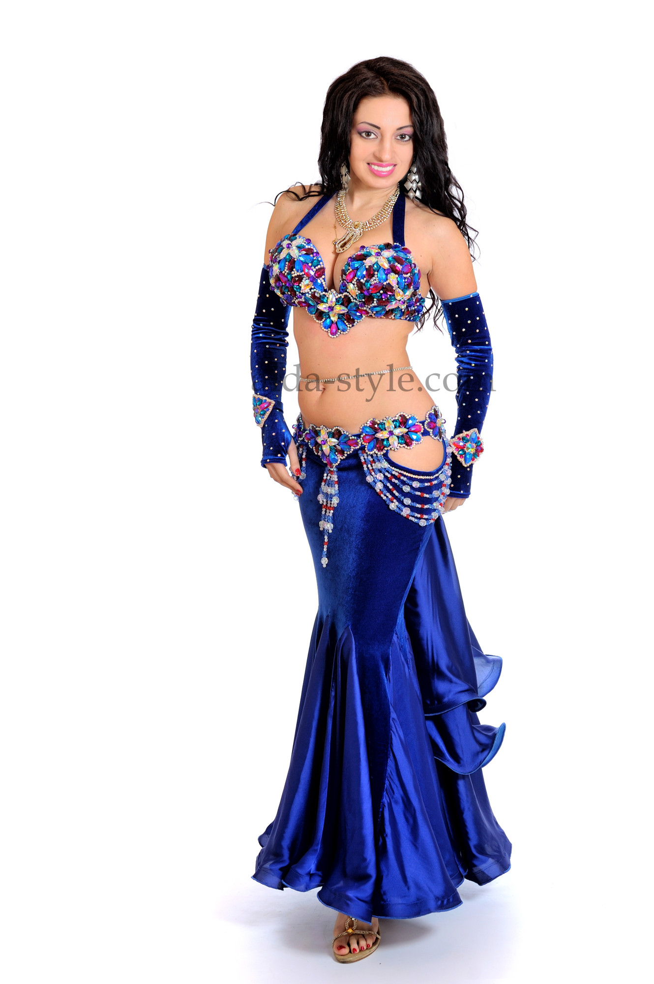 Beautiful classic style professional belly dance costume decorated with stones and fibres of stones