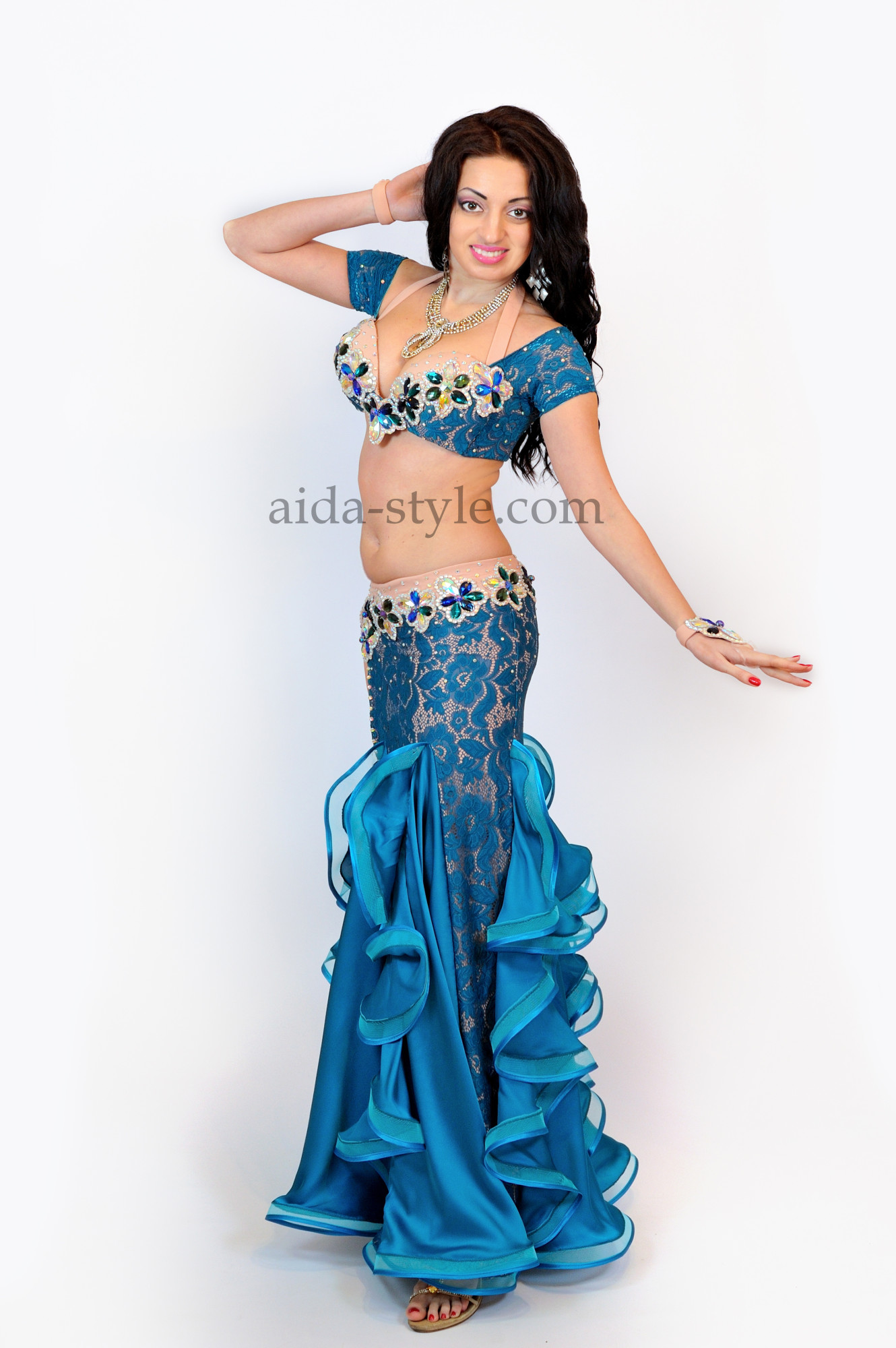 Blue professional belly dance costume with mermaid skird and ruffles