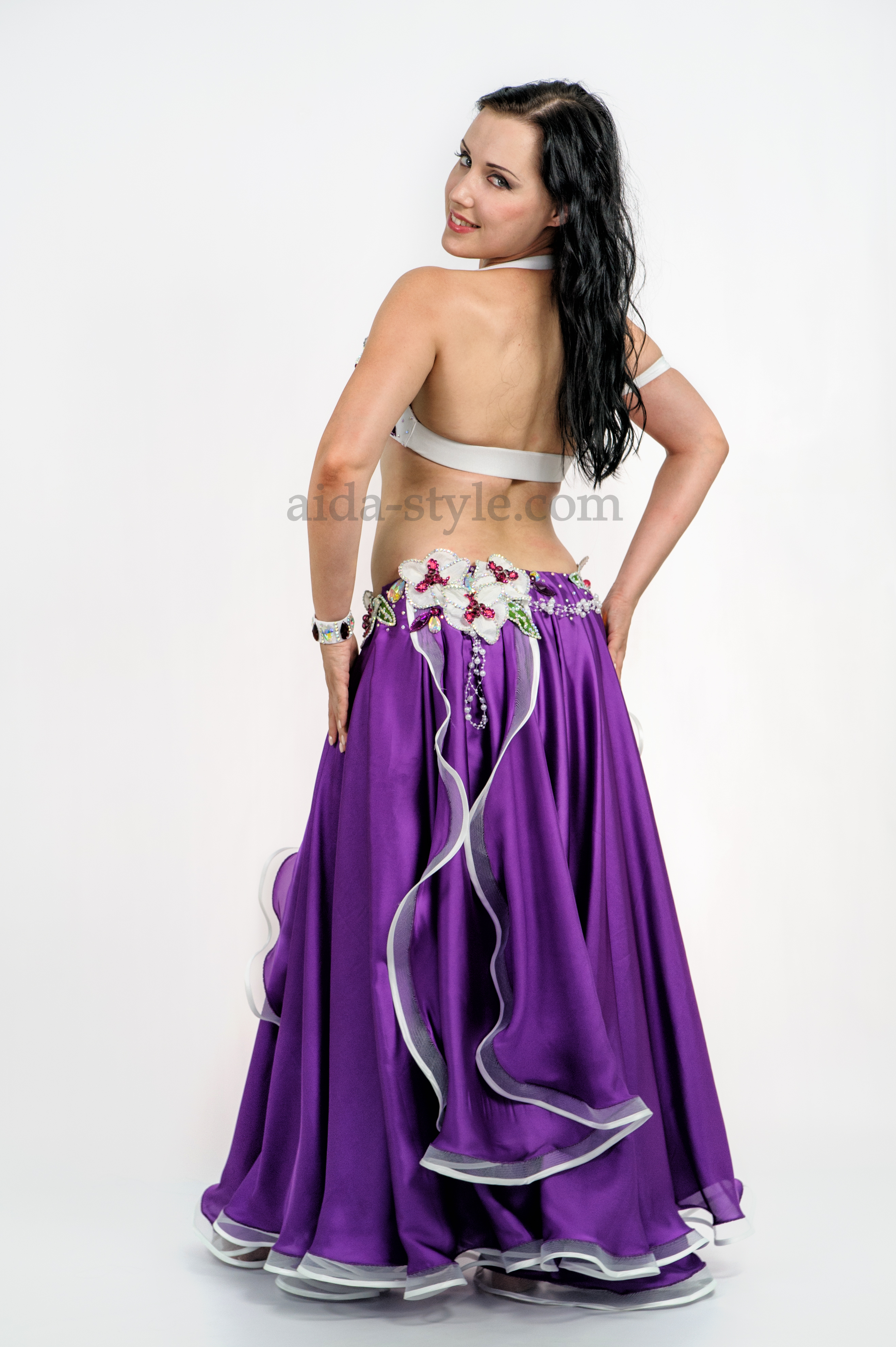dcc520cdbee9 Violet professional belly dance costume with two-layered skirt and floweer  decoration on bra and