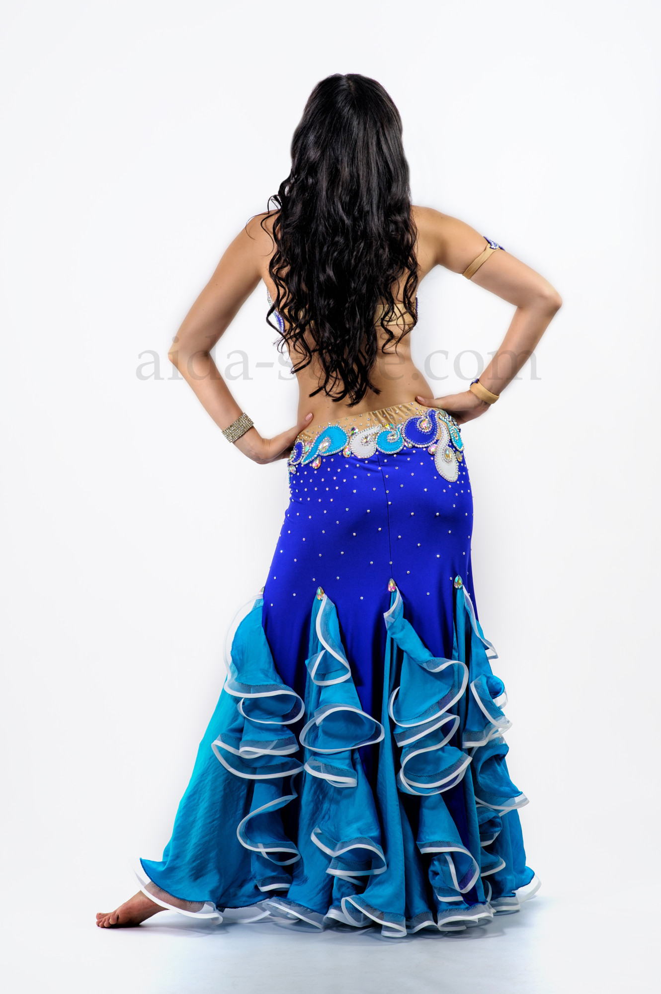 Blue professional belly dance costume with ruffles