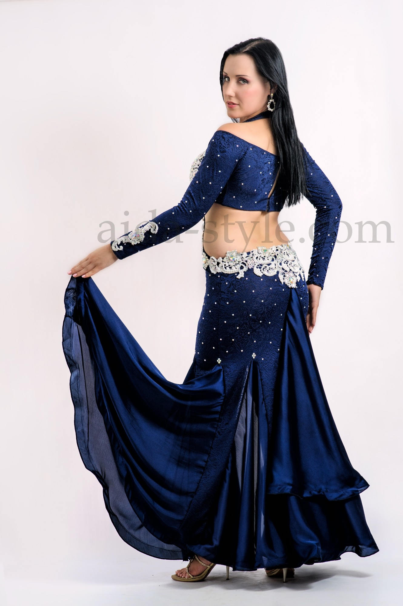 Dark blue one piece costume with mermail skirt