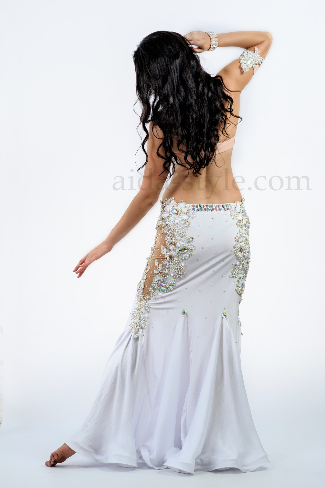 White custom made professional belly dance outfit for beautiful ladies