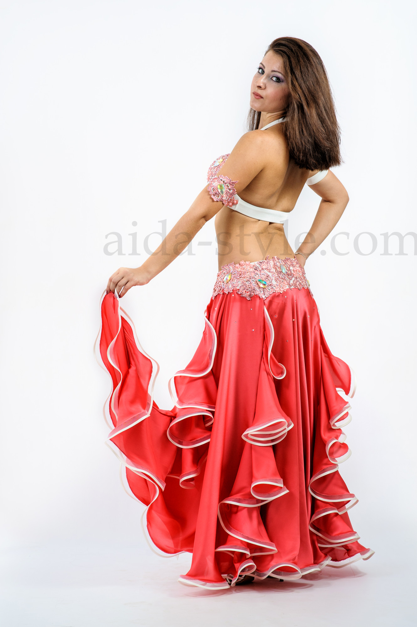 Peach custom made professional belly dance outfit with accessories and ruffls on skirt