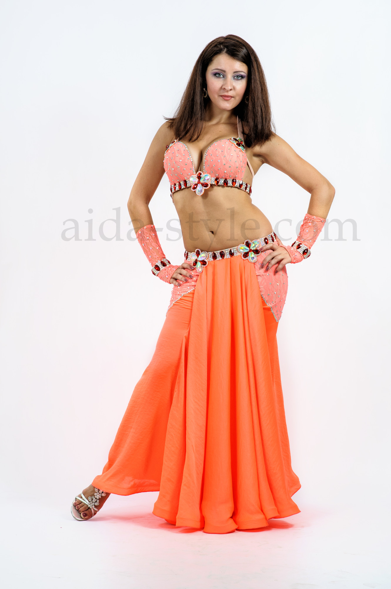 Elegant and beautiful professional custom made belly dance outfit in peach and pink