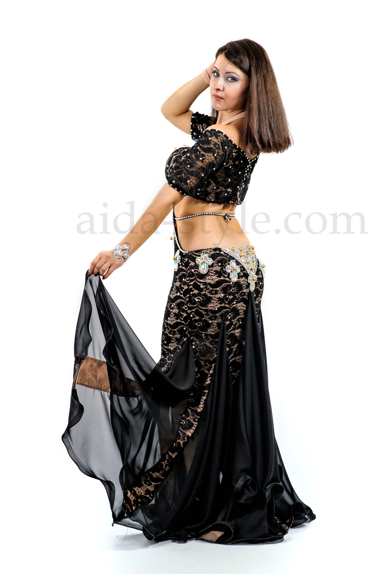One piece custom made black professional belly dance costume decorated with big stones and beads