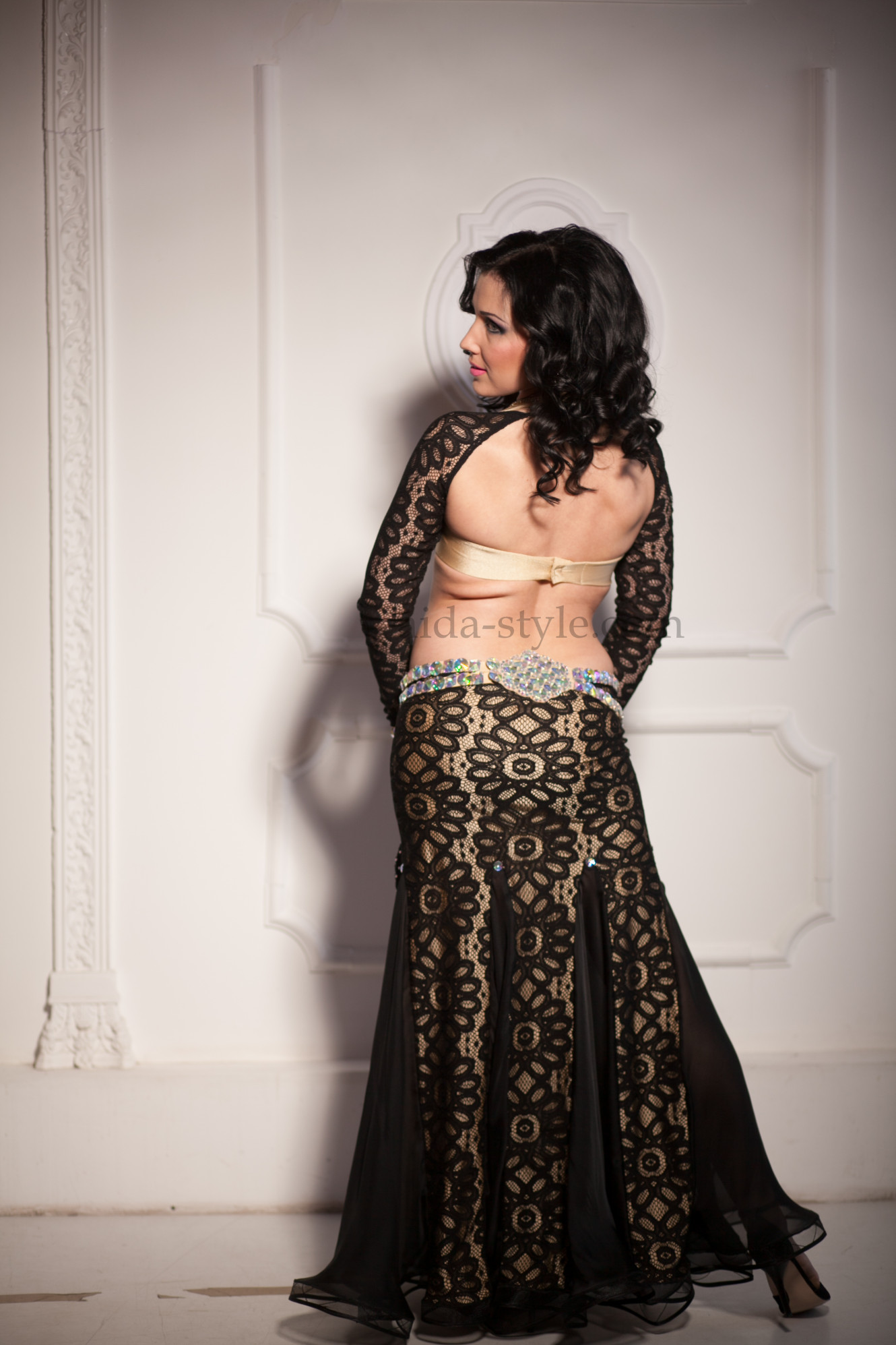 Professional belly dance costume in the style of classical evening dress