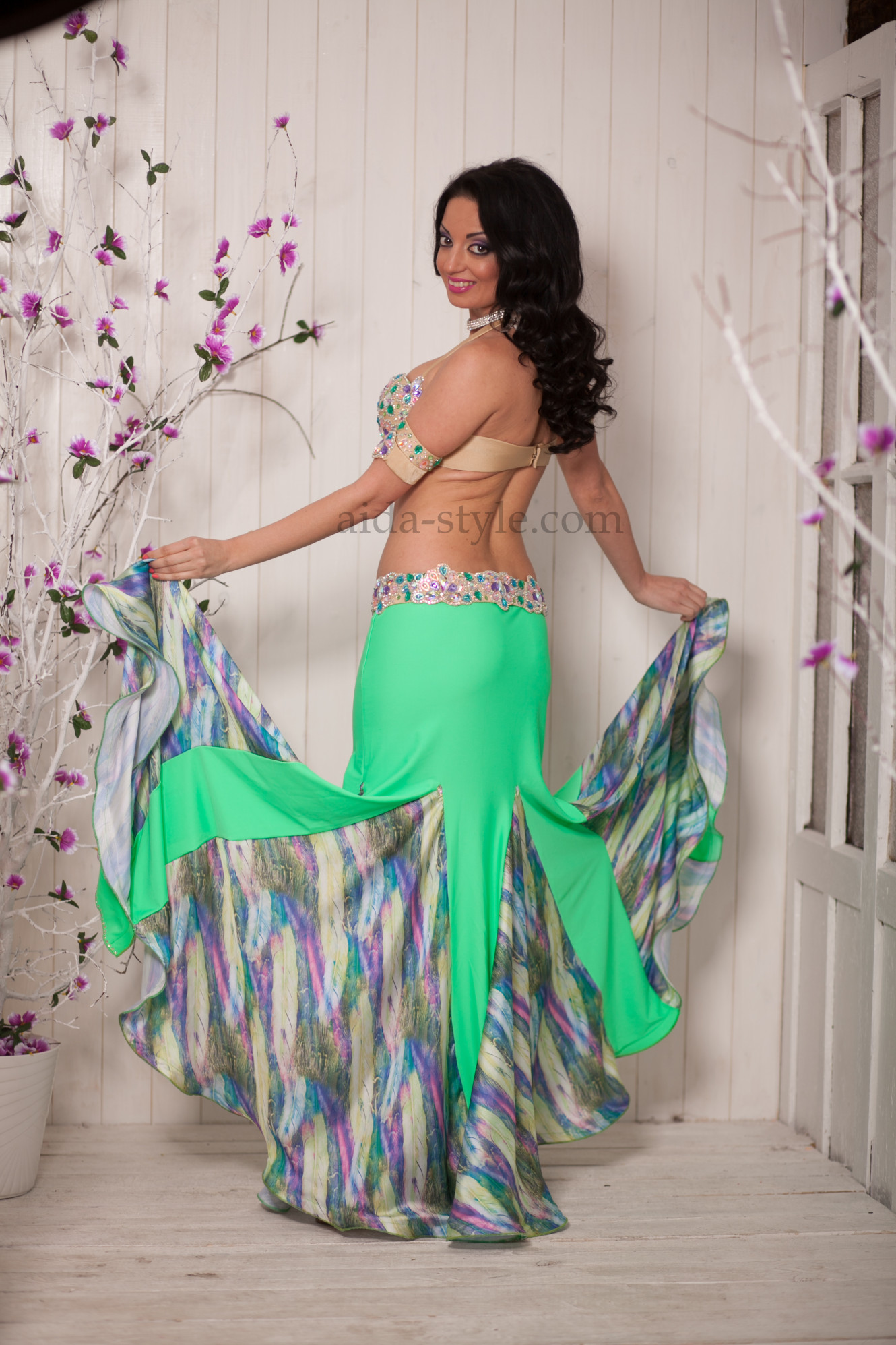 Azure - blue professinal belly dance costume with elastic skirt
