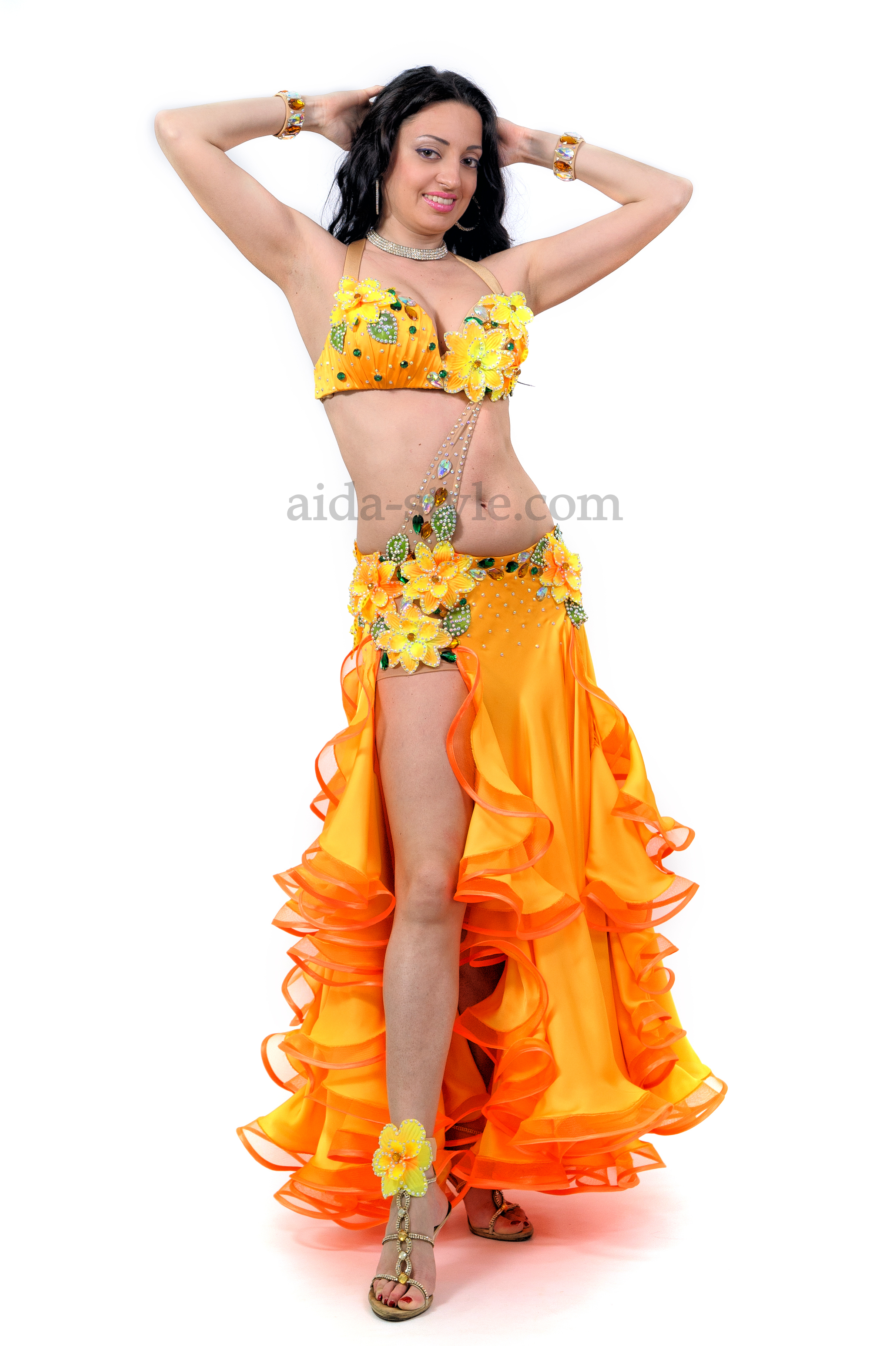 f659033a3f8a Orange professional belly dance costume decorated with flowers on the hips