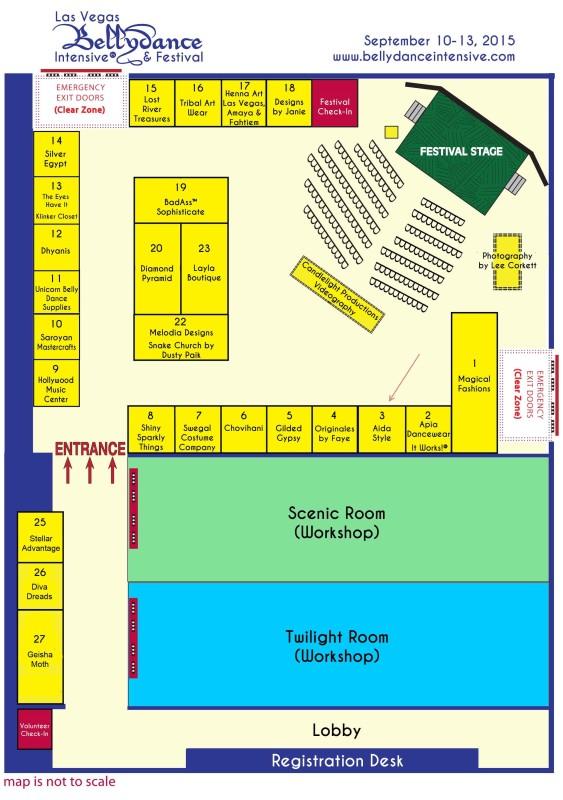 Las Vegas Belly Dance Intensive & Festival vendor map