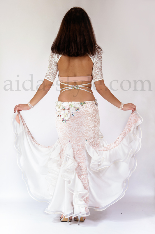 one piece white professional belly dance costume