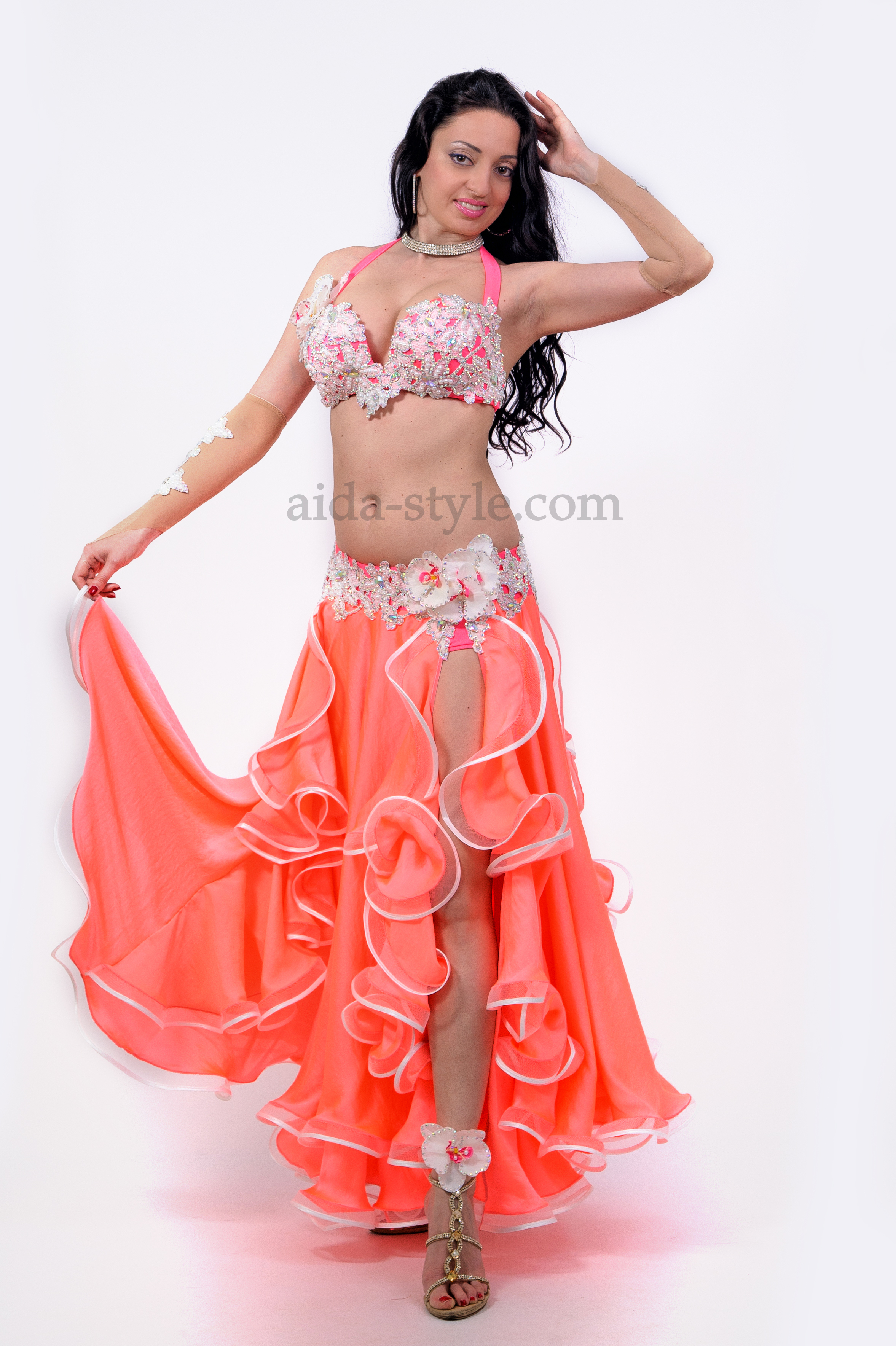 a98b414f18b8 Gentle pink professional belly dance costume with bouffant skirt, decorated  withflounces and artifisial flower on