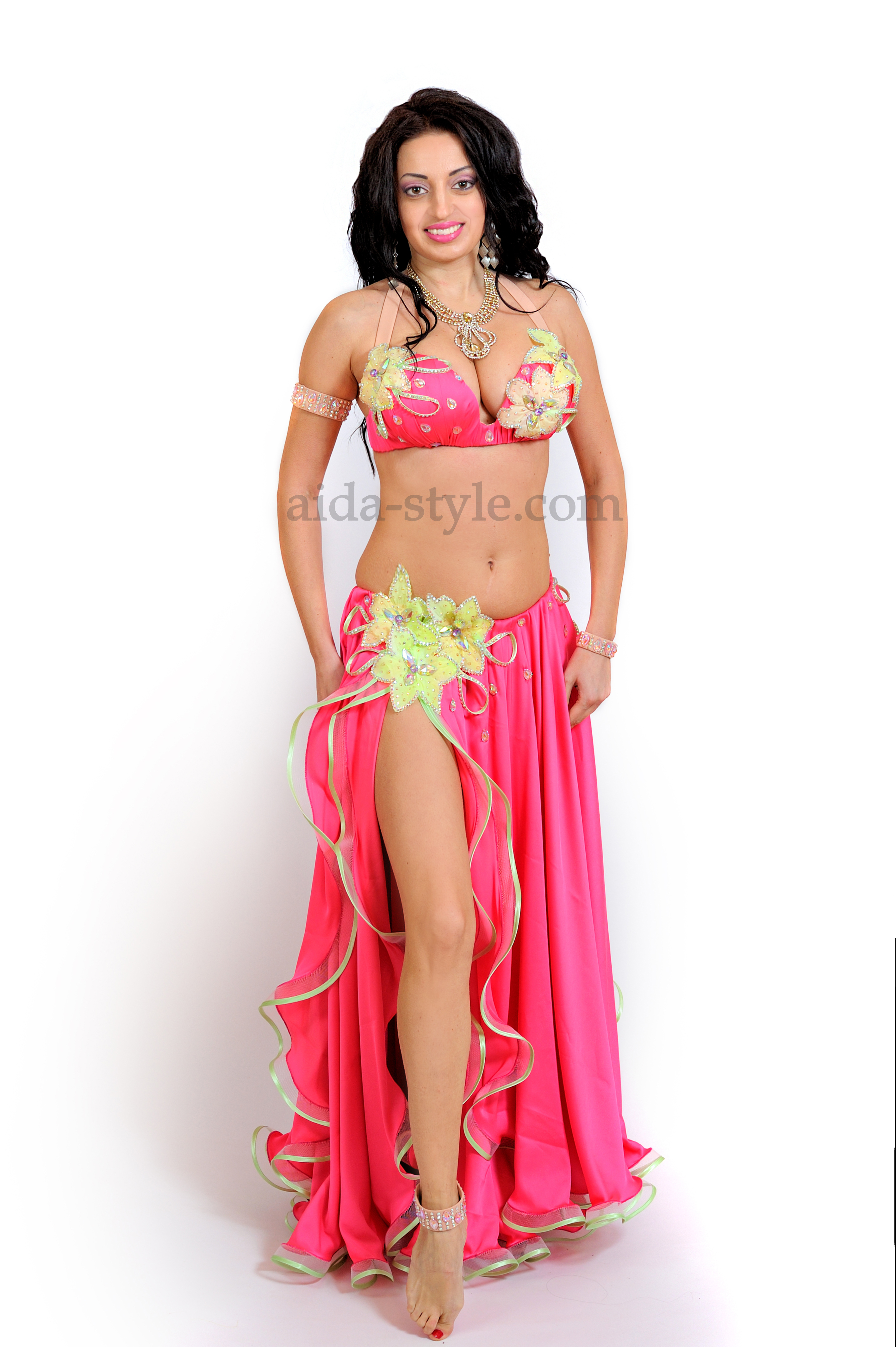 197790cbefd8 Professional belly dance dress in bright pink color. Skirt has two layers.  Its decorated