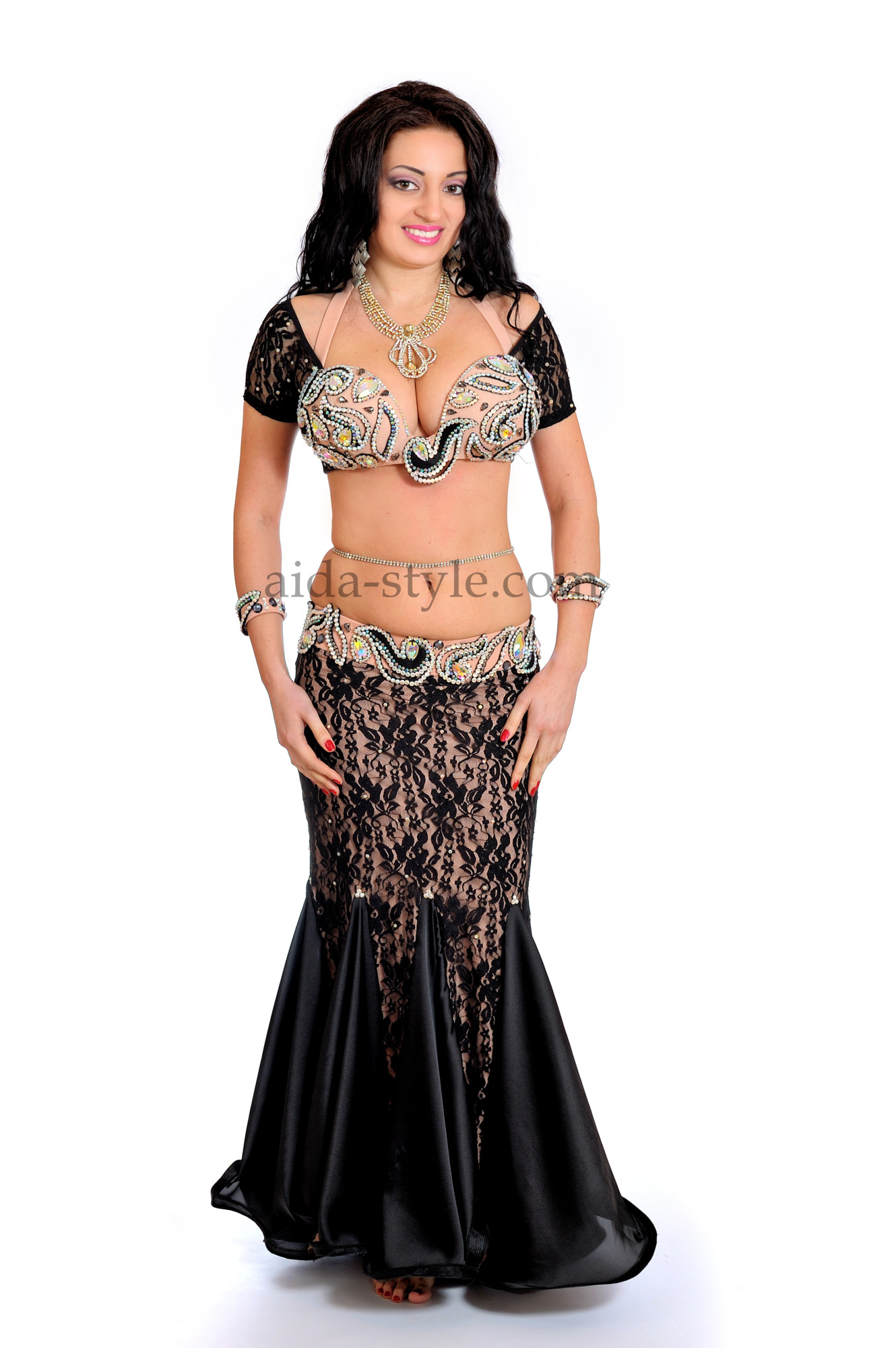 Professional belly dance costume with mermaid skirt in the style of classical evening dress