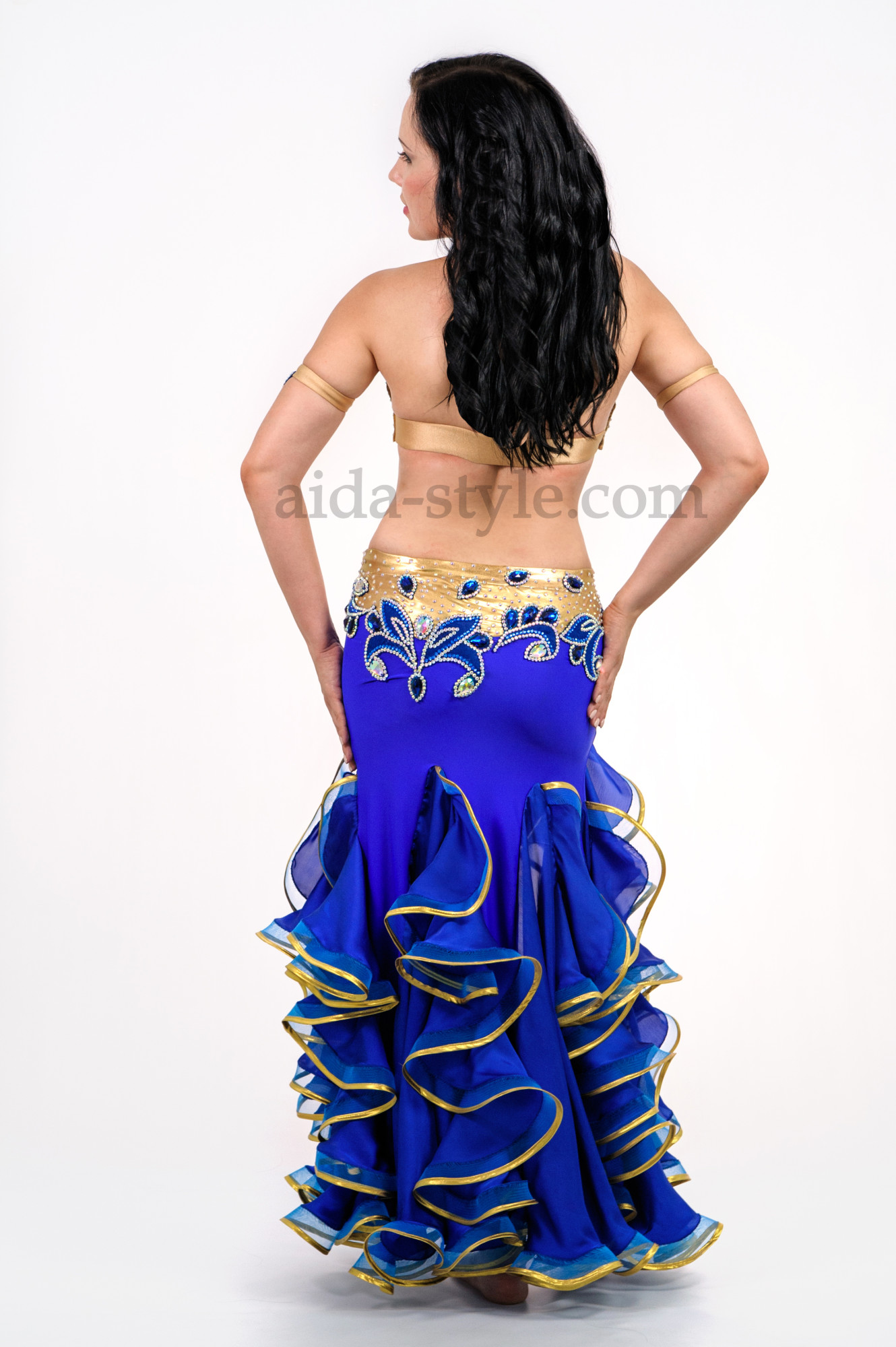 Blue professional belly dance costume with a cut on the right side and golden belt