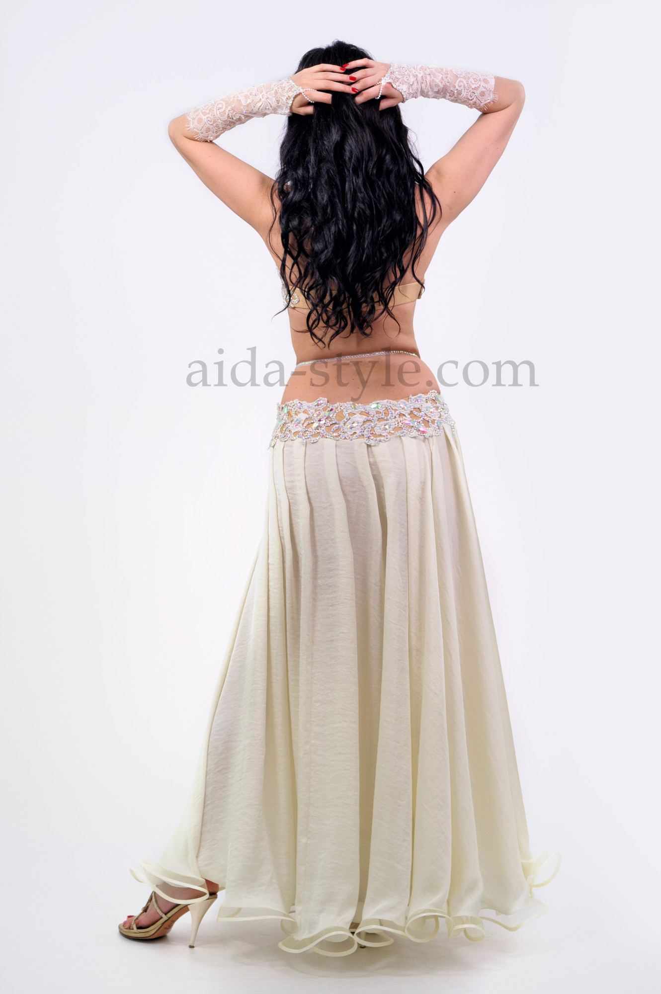 Professional belly dance suit in white milky color. With bouffant skirt and elbow length glowes