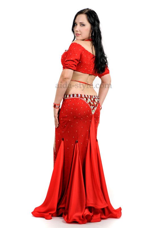 Bright red professional belly dance dress with decoration and flounces