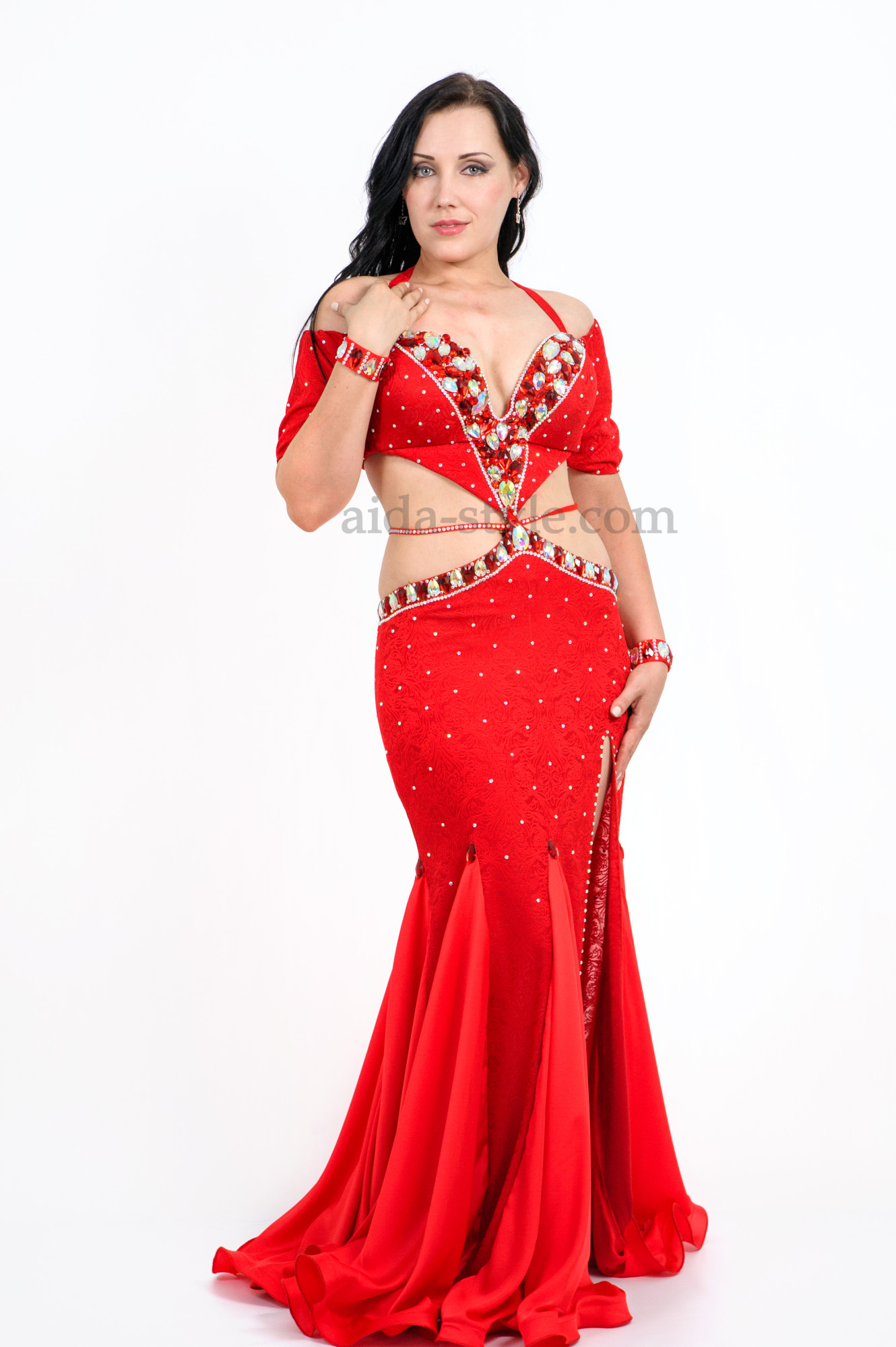 Red professional belly dance dress from Aida Style with a cut on the left side