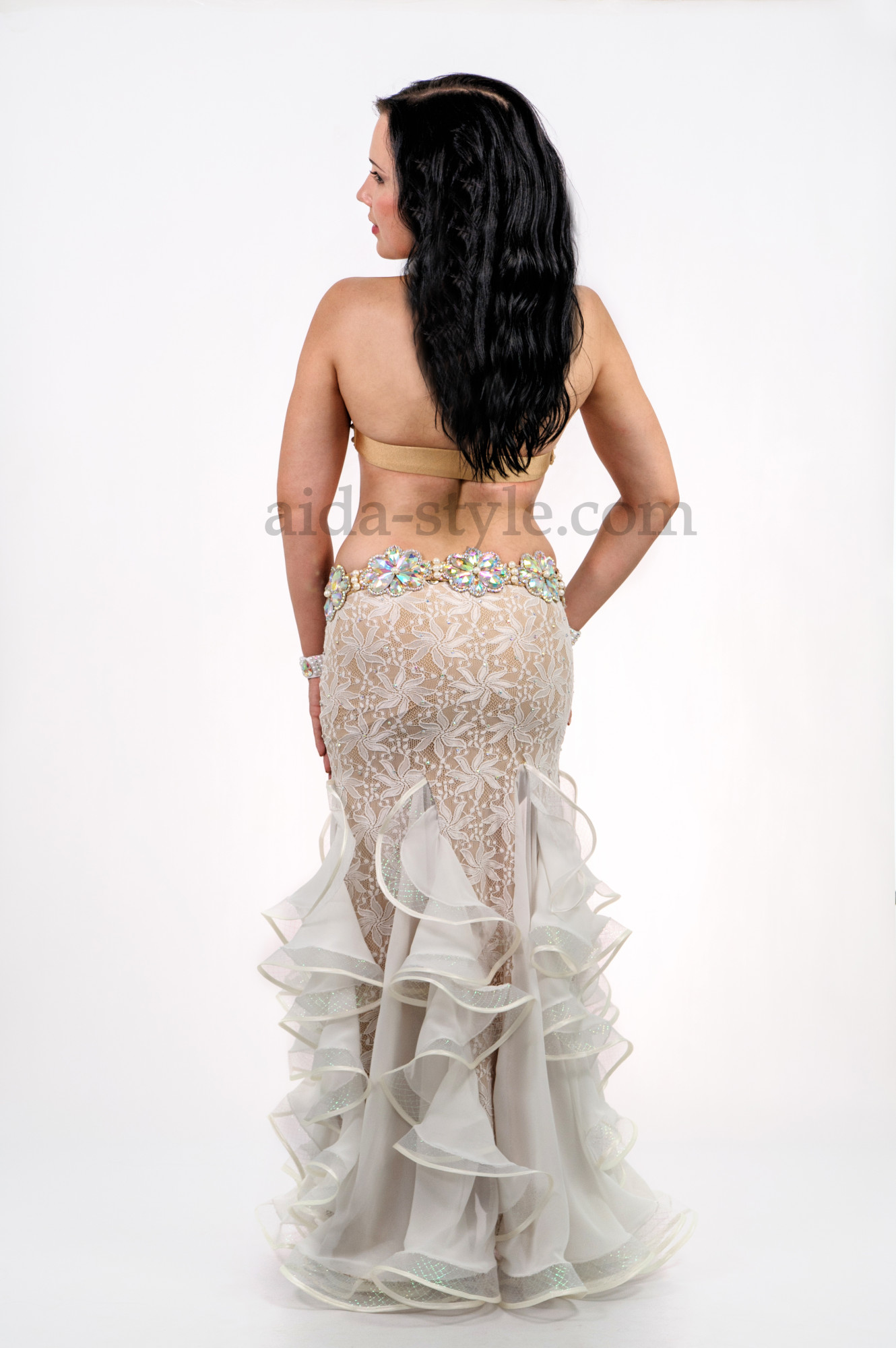 White professional belly dance costume with laces and a cut on the right side