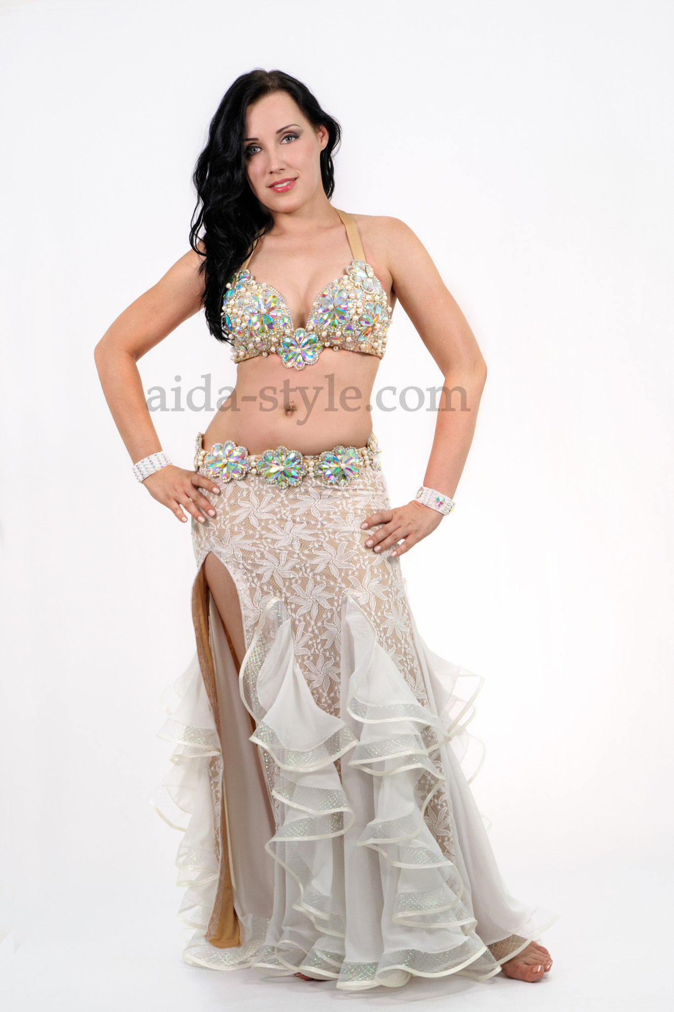 White professional belly dance costume with stones and laces