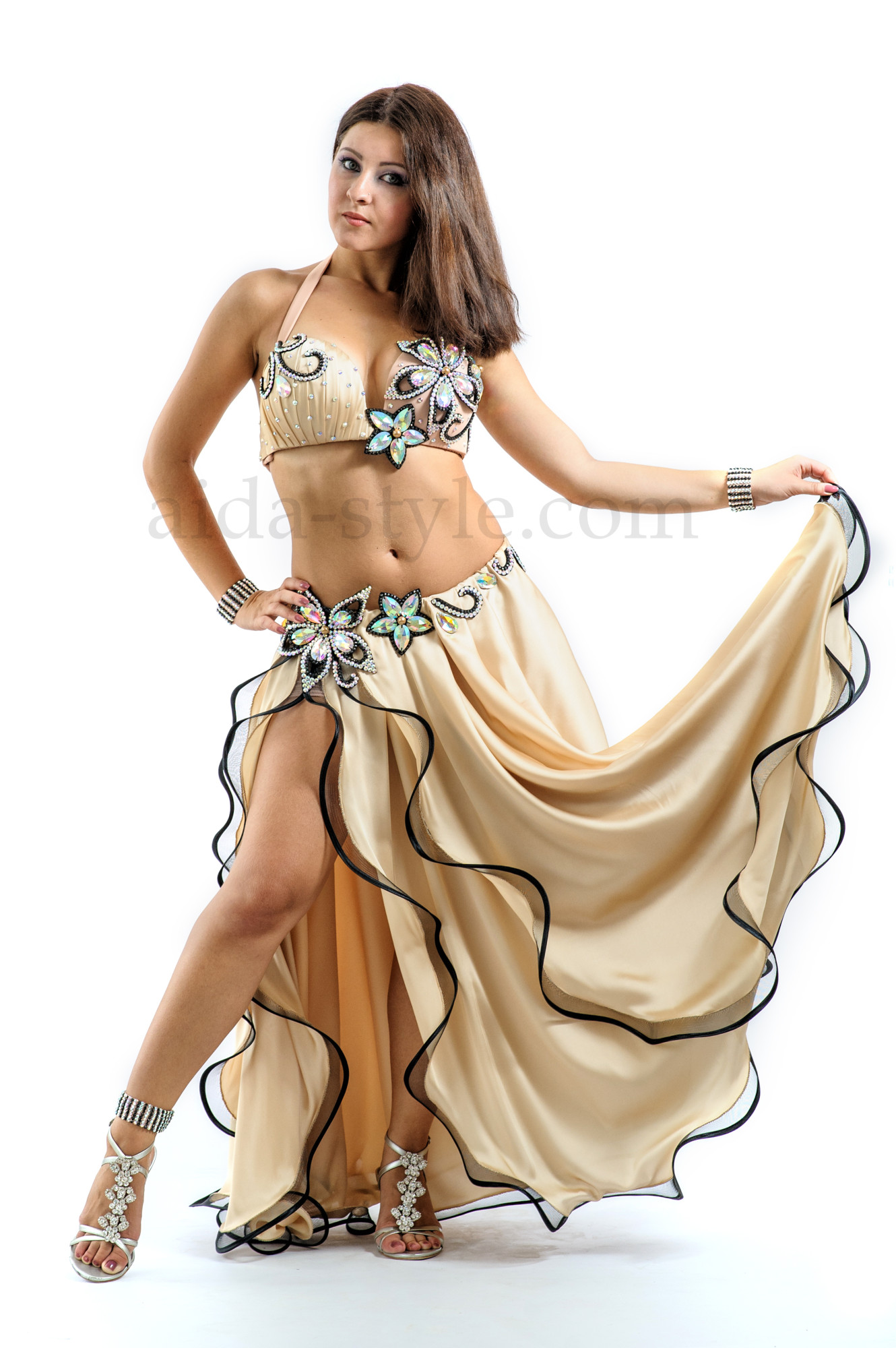 Professional belly dance color in cream color with stones