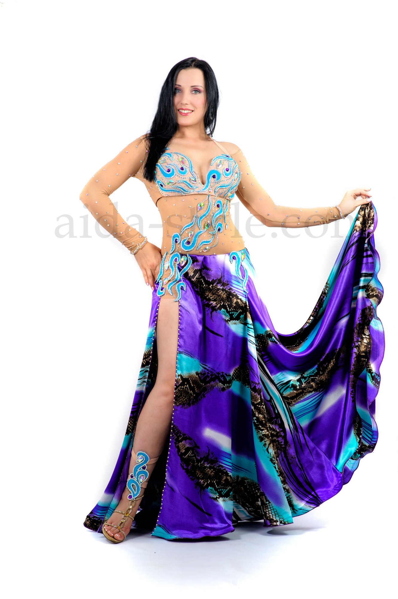 Marine Professional belly dance custom made outfit in one piece
