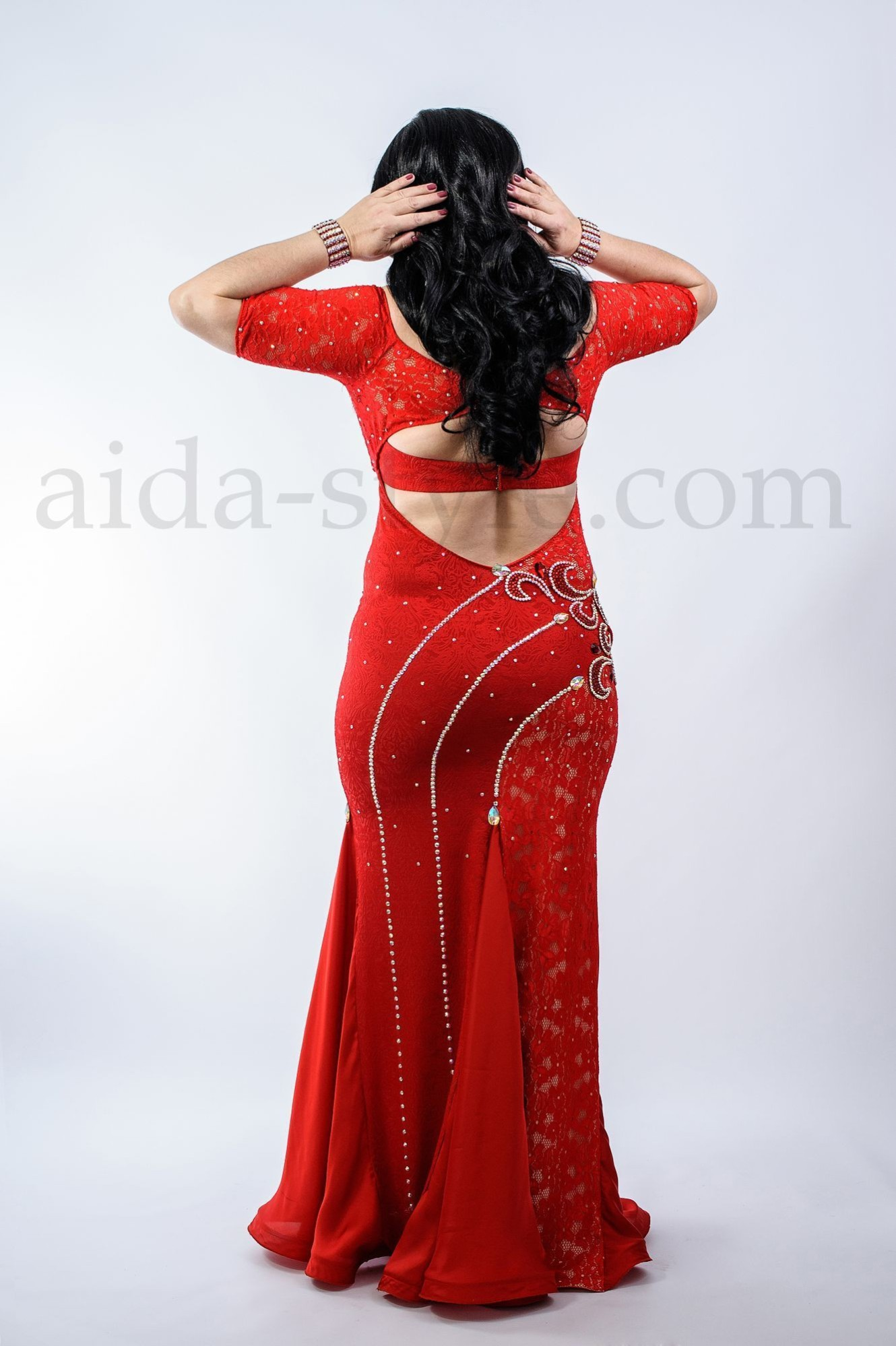 Red professional belly dance costume