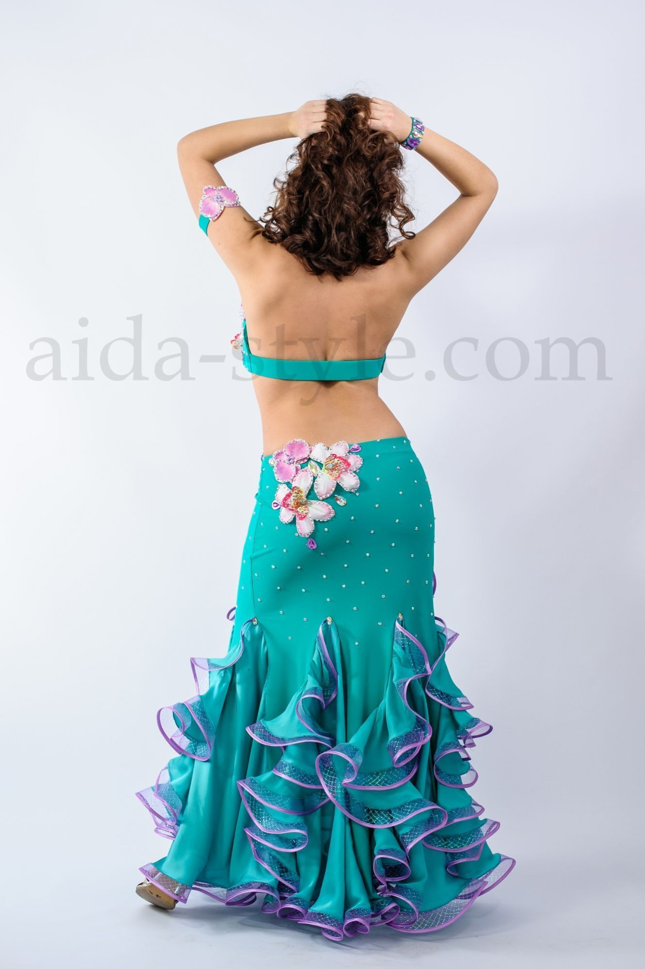 One piece professional bellydance dress with assimetric bra