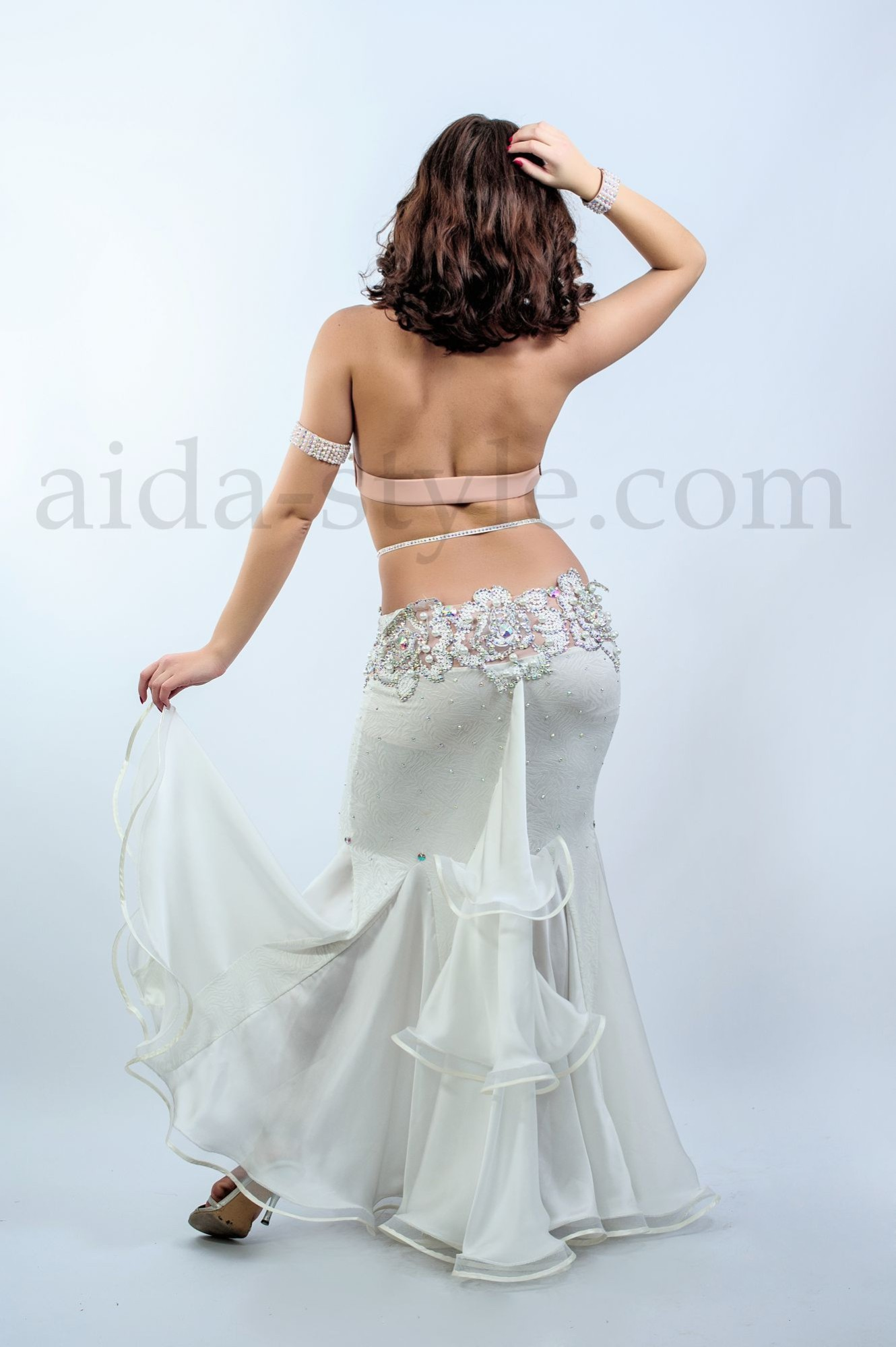 white classical professional bellydance costume