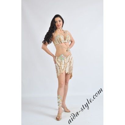 Professional belly dance costume with mini-skirt