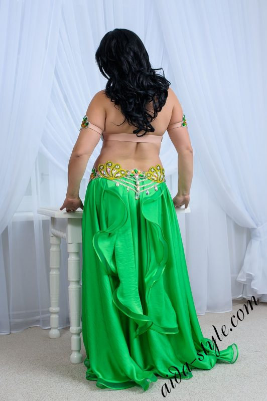 bra and belt set for belly dance by Aida Style in yellow and green color; goes with yellow or green skirt