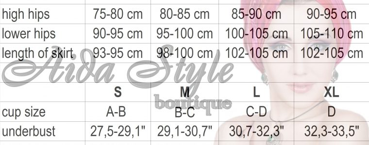 Aida Style size chart for belly dance costumes by Olga Aida