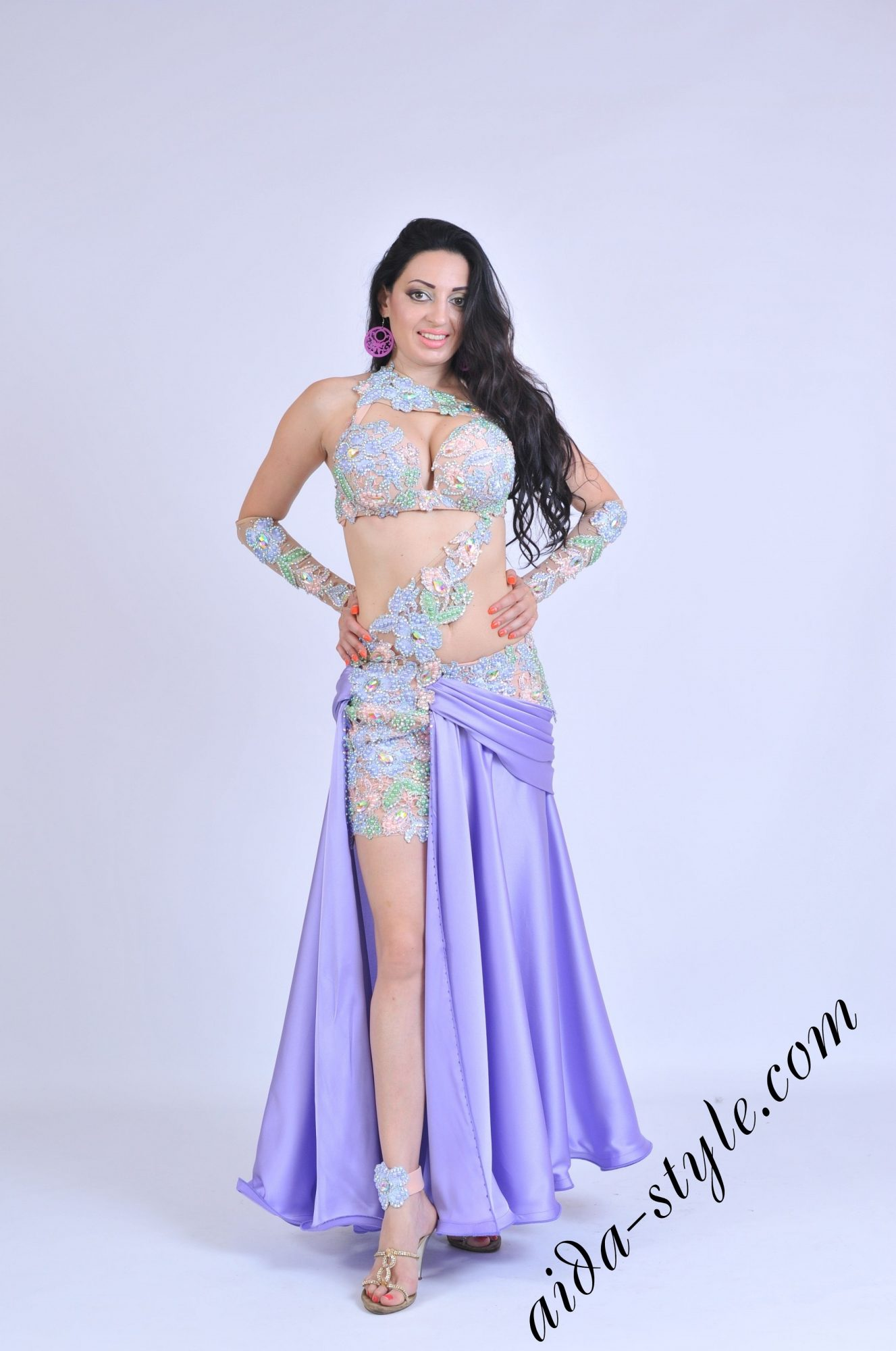 Lilac oriental outfit by Aida Style with double skirt