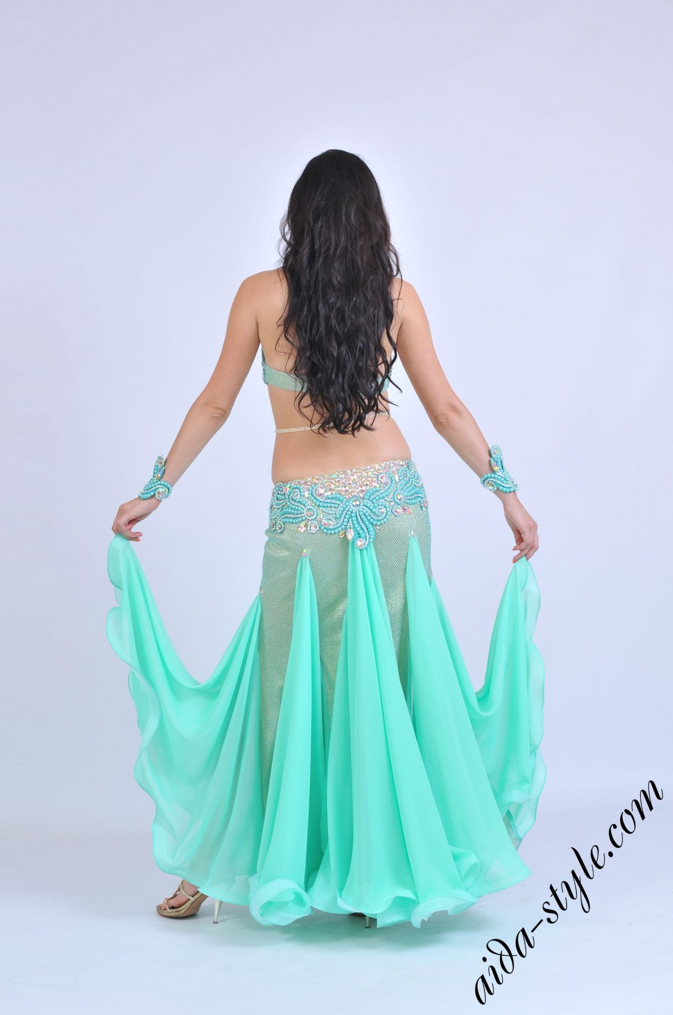 Mint Aida bellydance dress with covered belly
