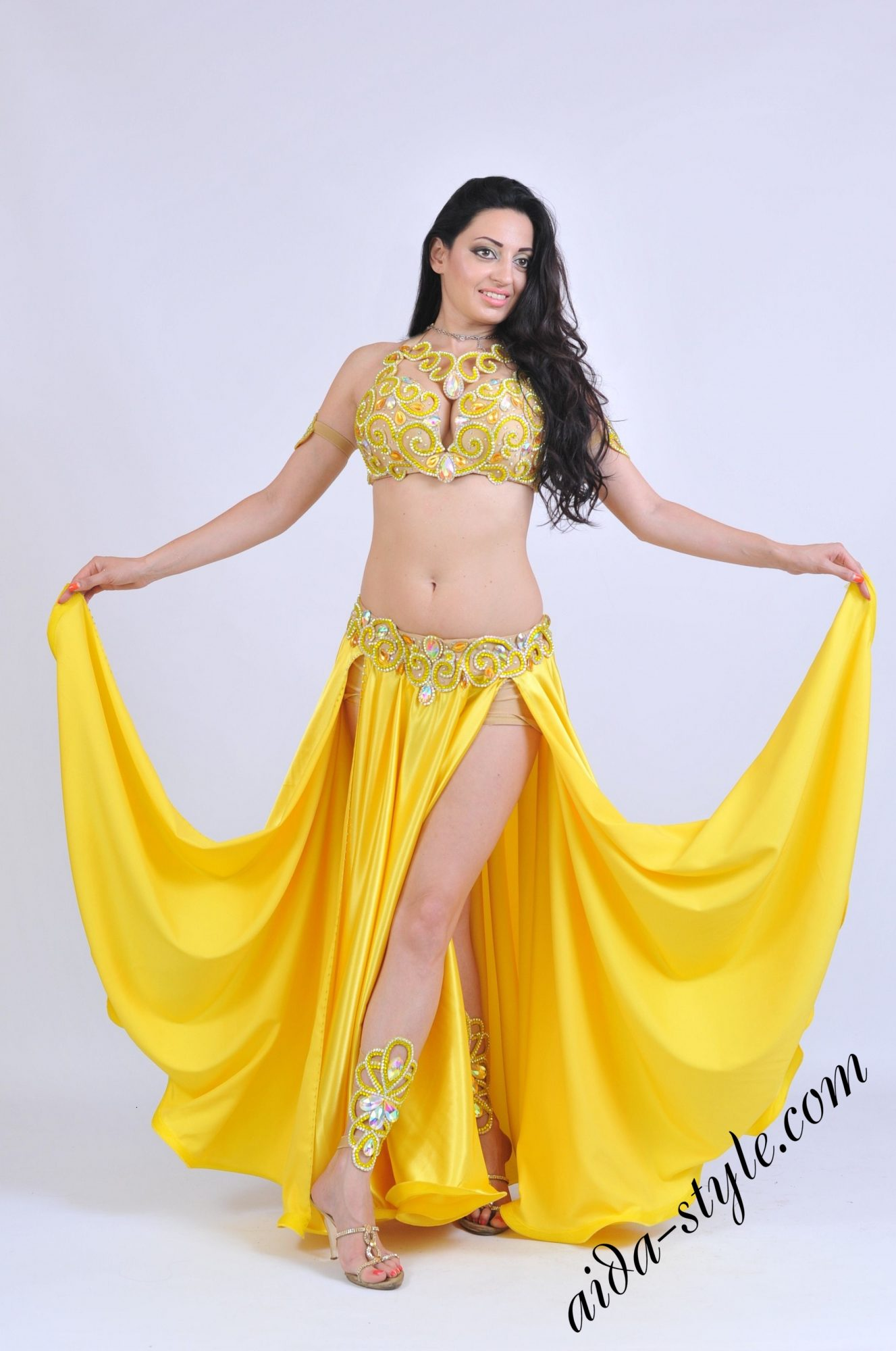 Yellow bellydance costume by Olga Aida