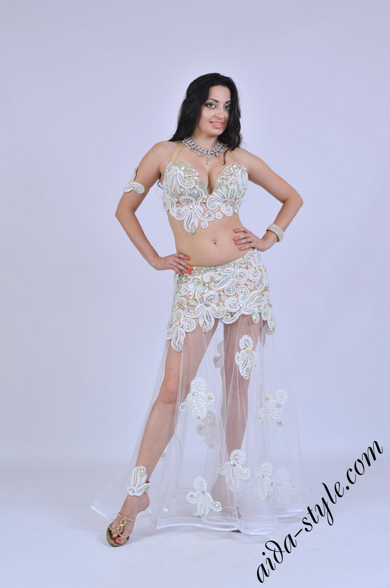 Sexy white belly dance costume with transparent skirt