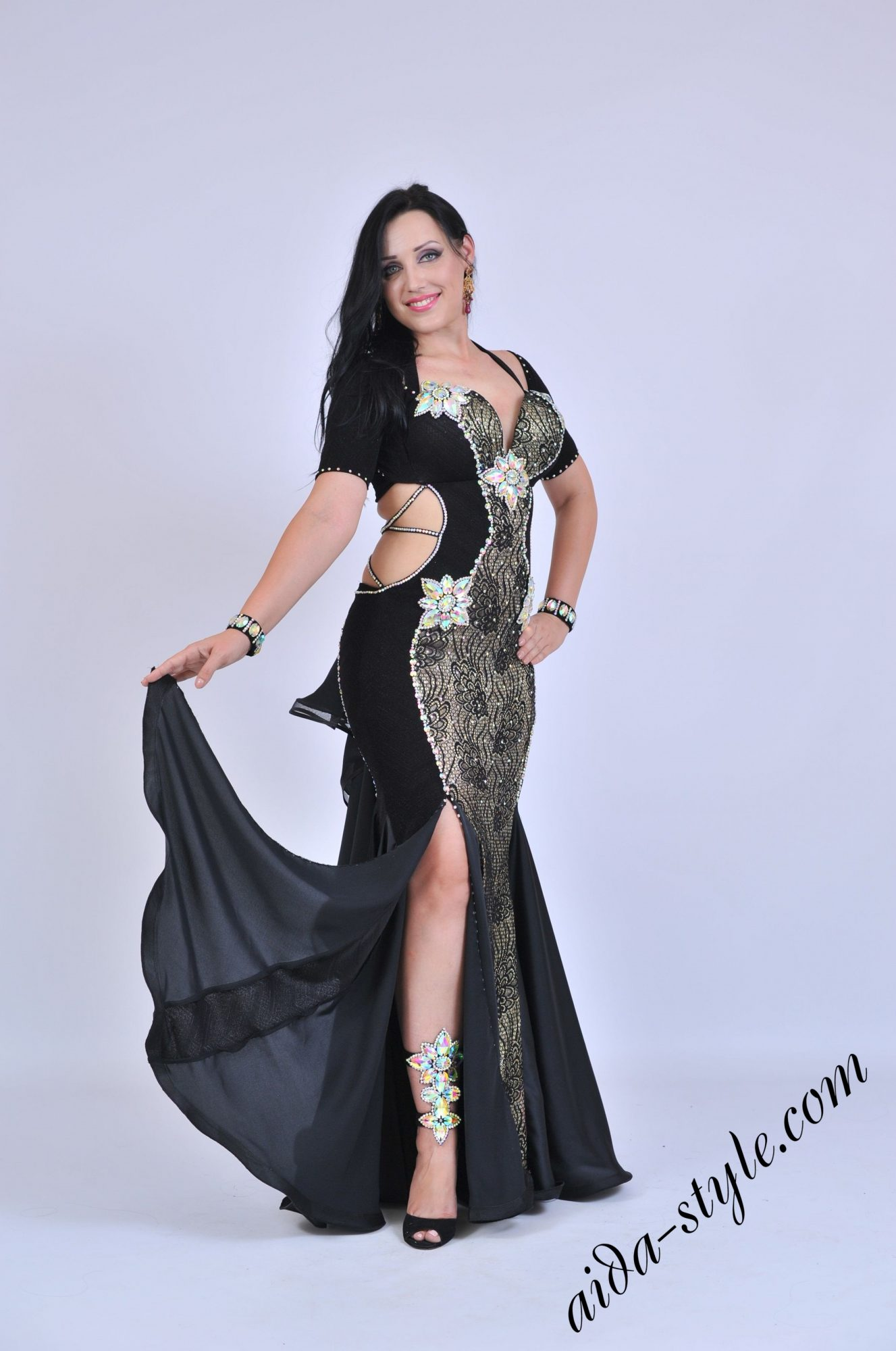 Black belly dance dress with covered belly and mermaid style skirt with opening