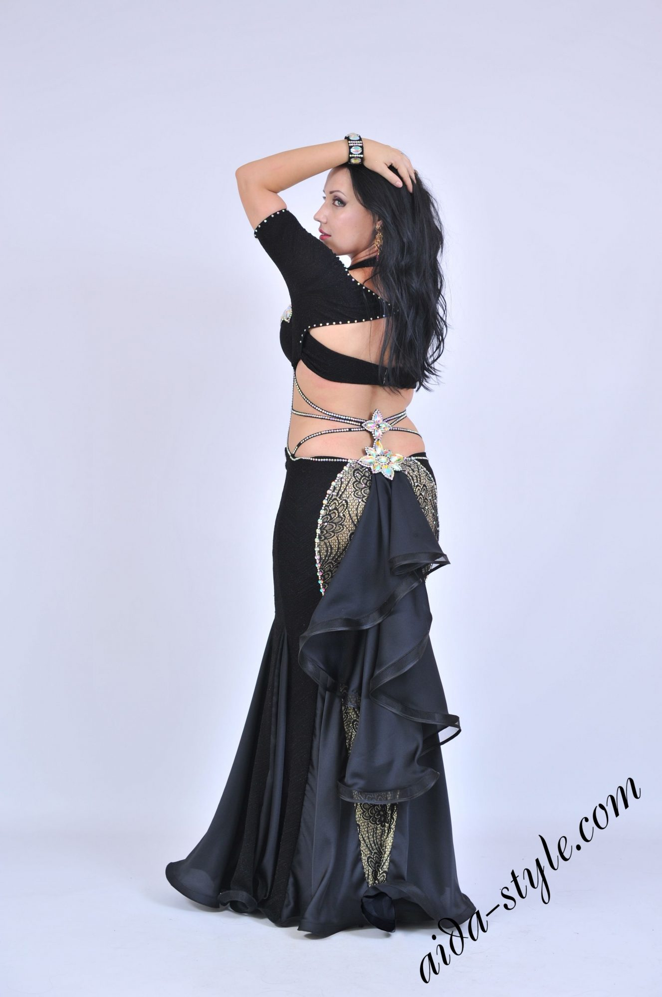 Black belly dance dress with hidden belly and short sleeves