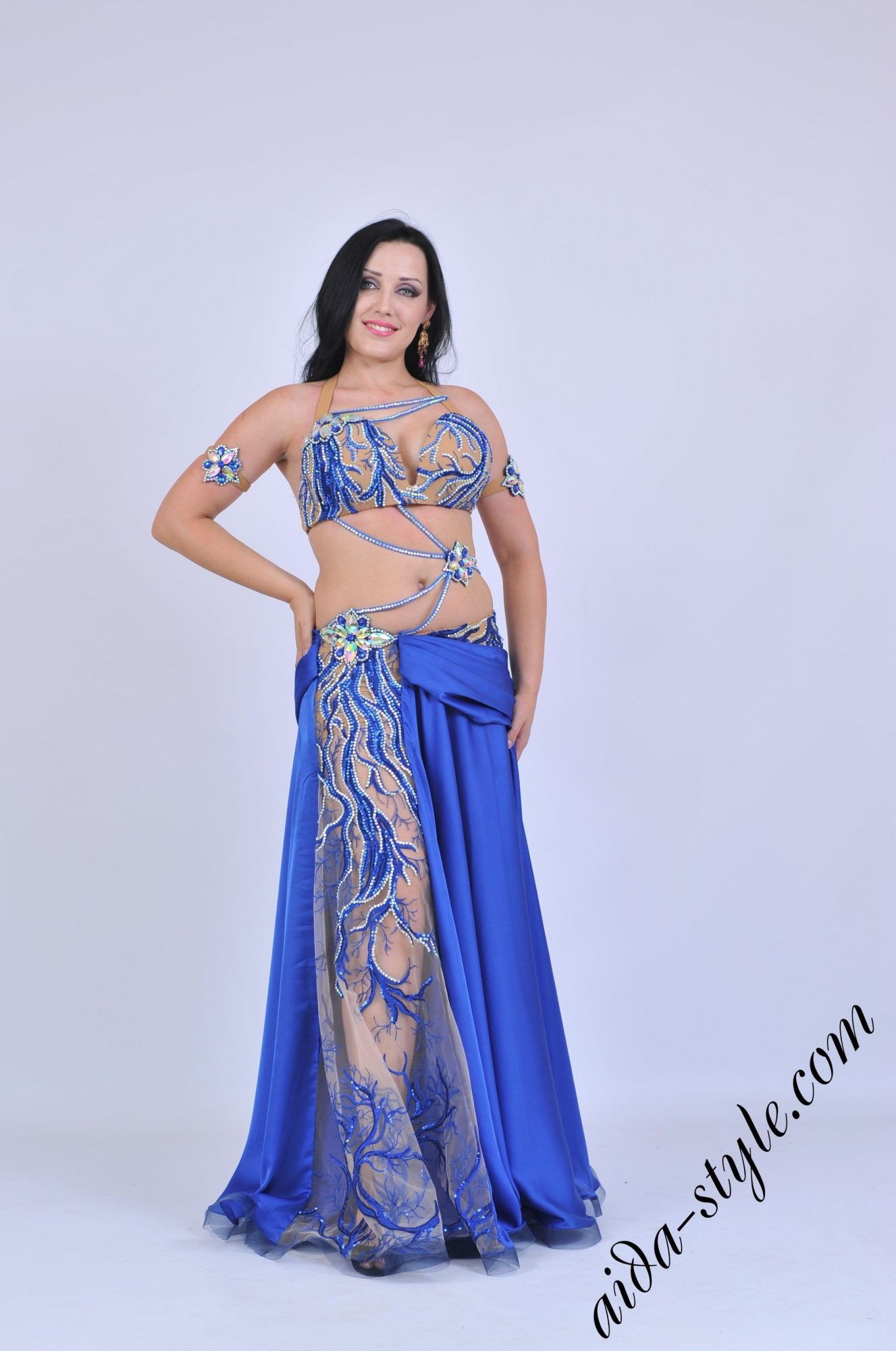 Blue belly dancer Aida costume for scene