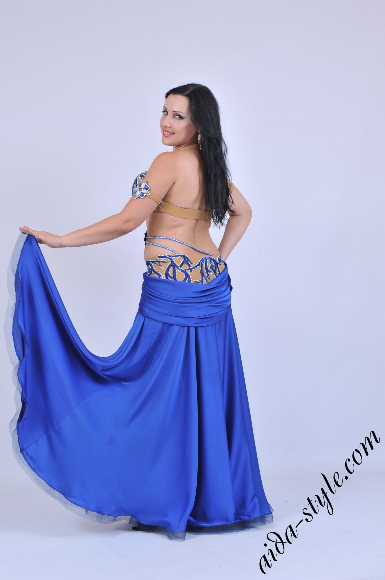 Blue belly dancer Aida costume in unique style