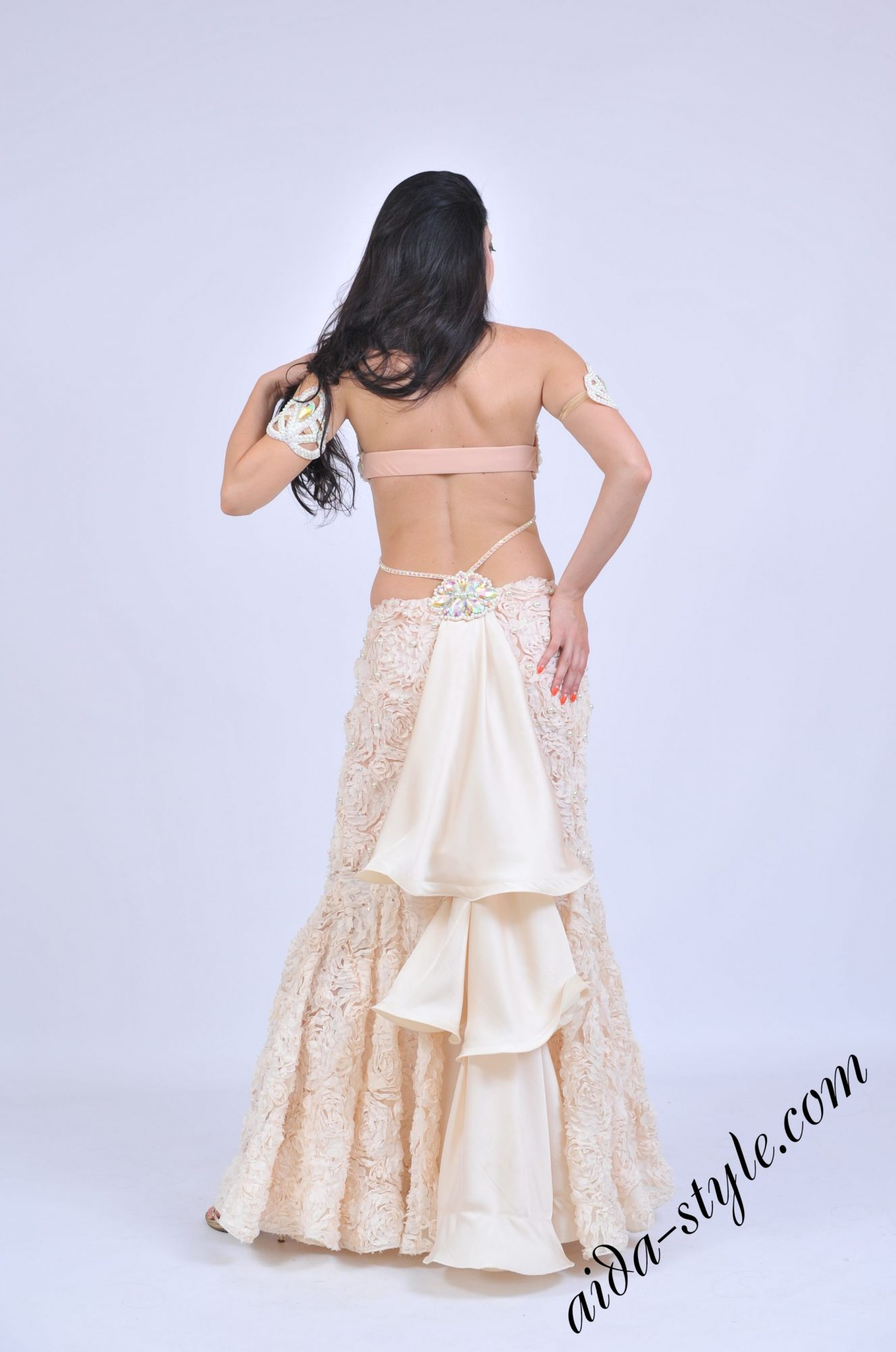 Light cream costume for belly dancer