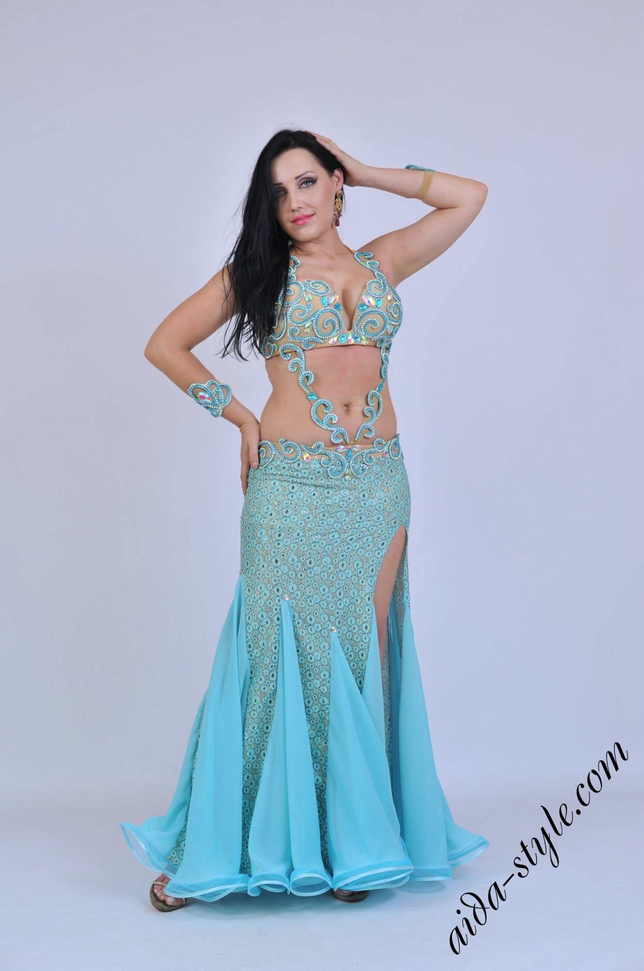 Light blue belly dancer costume with skirt with opening at left side