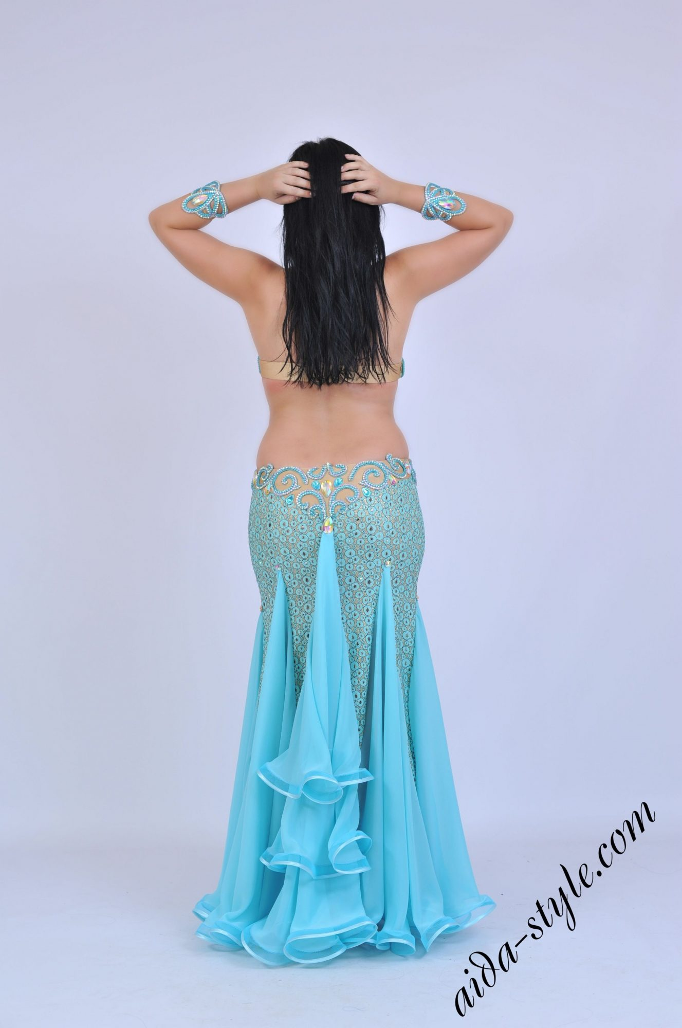 Light blue belly dancer costume with mermaid shape skirt