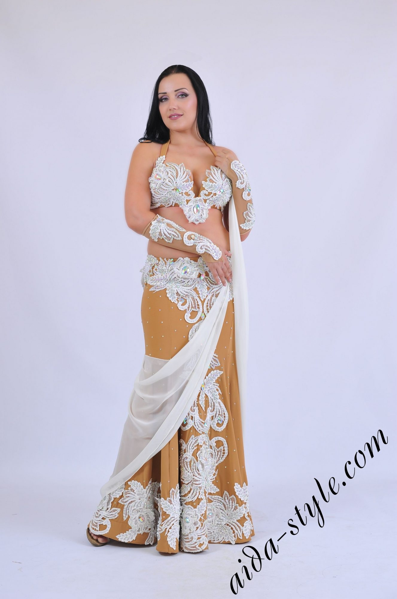Premium Aida Style belly dance costume with gloves