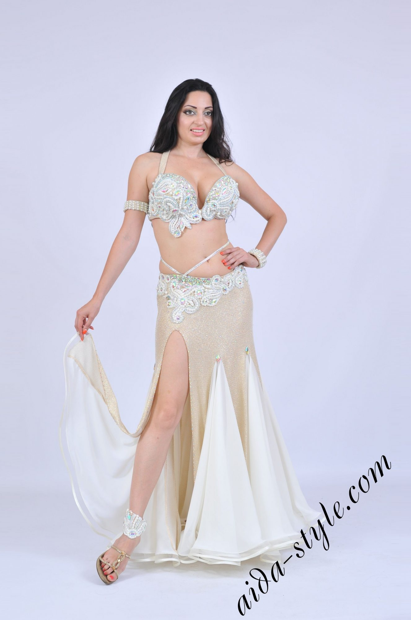 Aida costume with white decoration