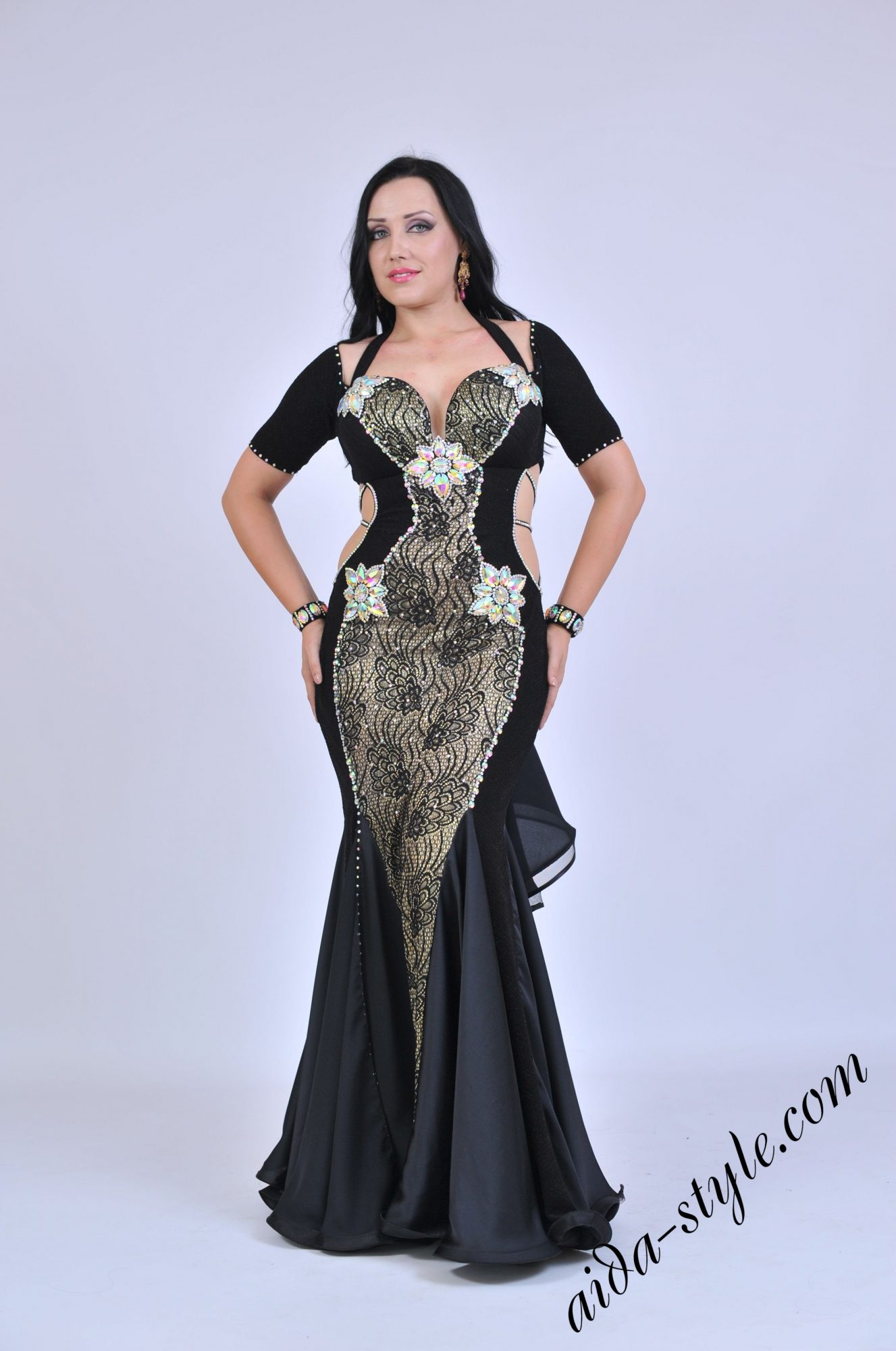 Black belly dance dress with covered belly and bolero