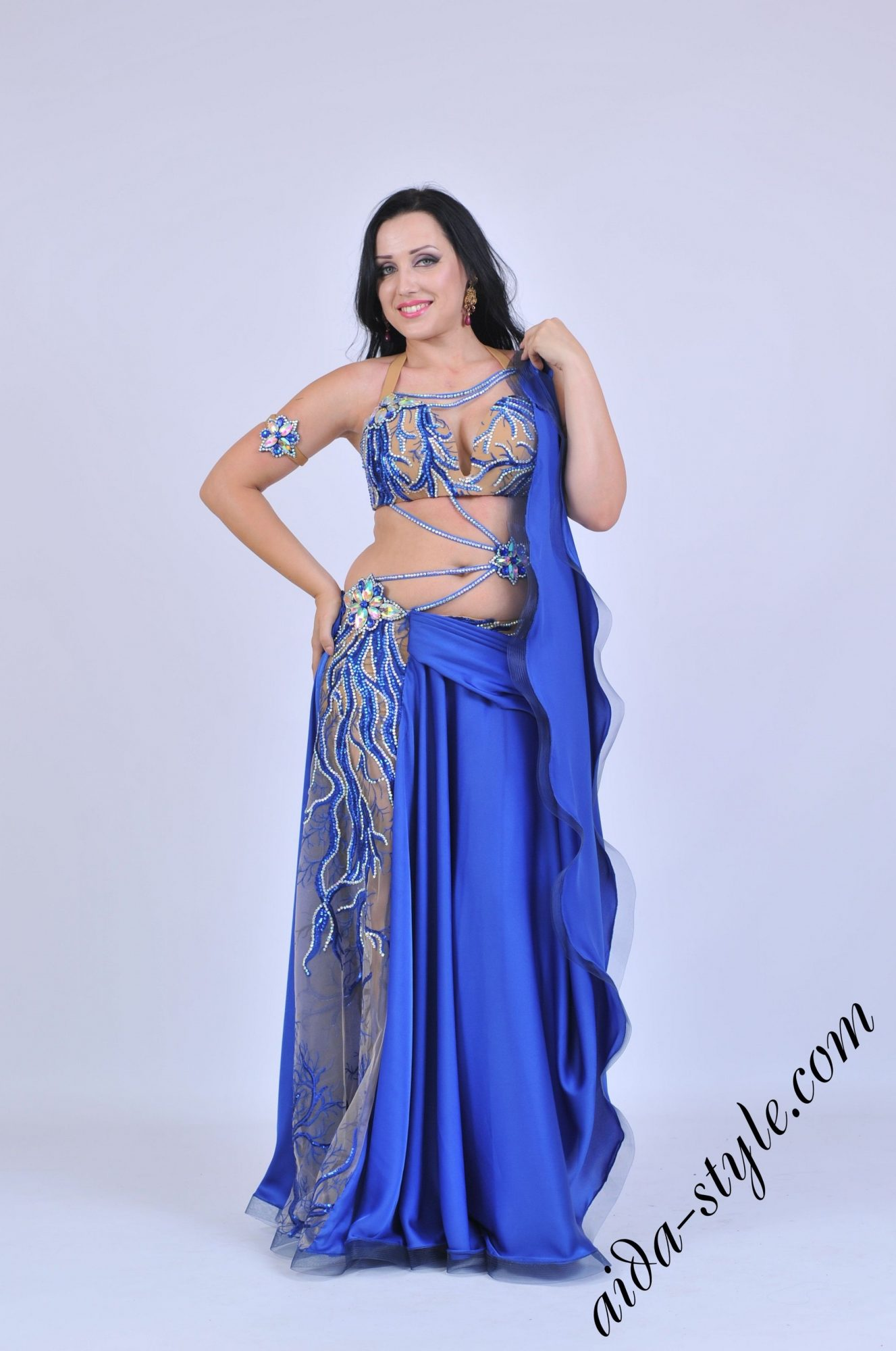 Blue belly dancer Aida costume with bracelets